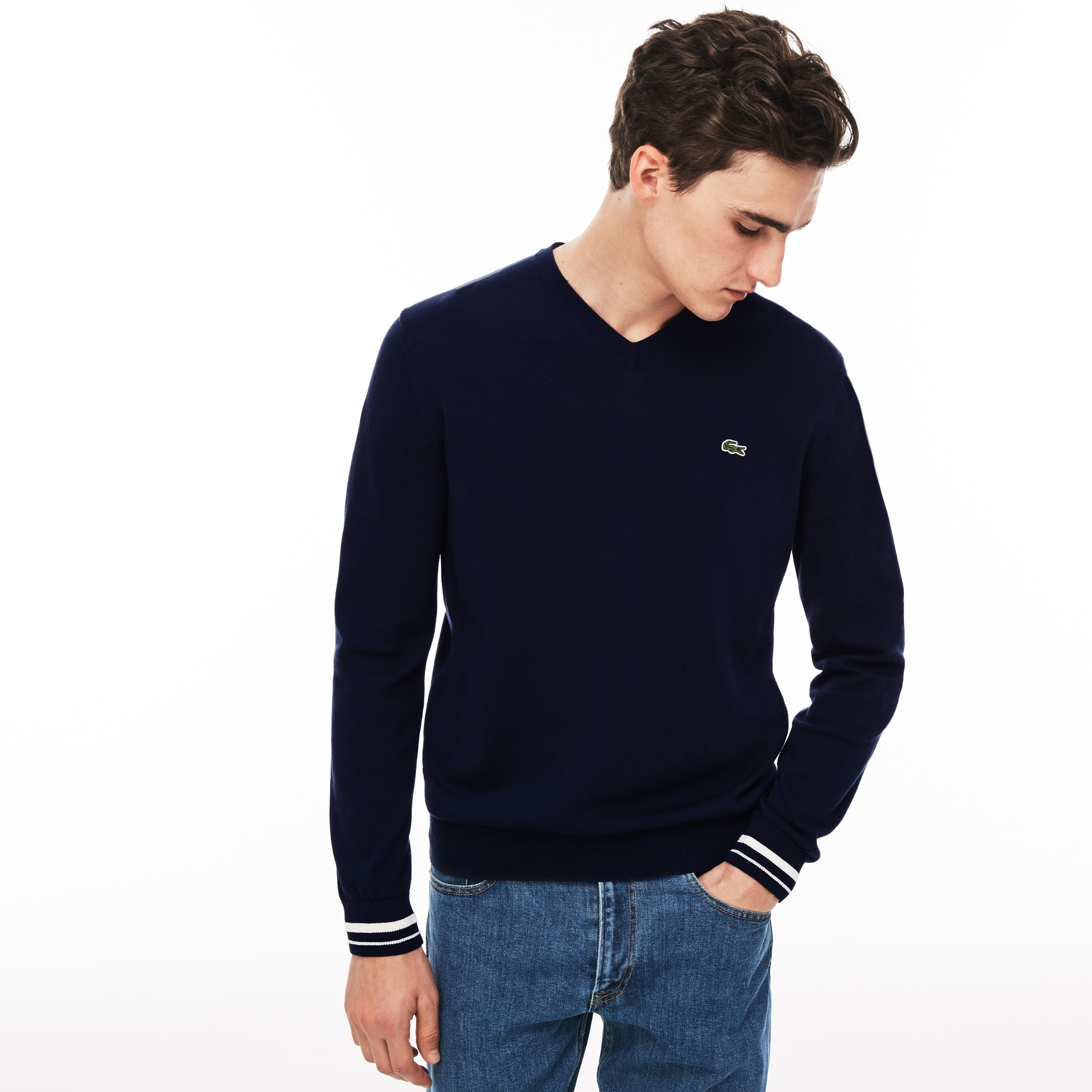 Men's V-neck Contrast Accents Cotton Jersey Sweater
