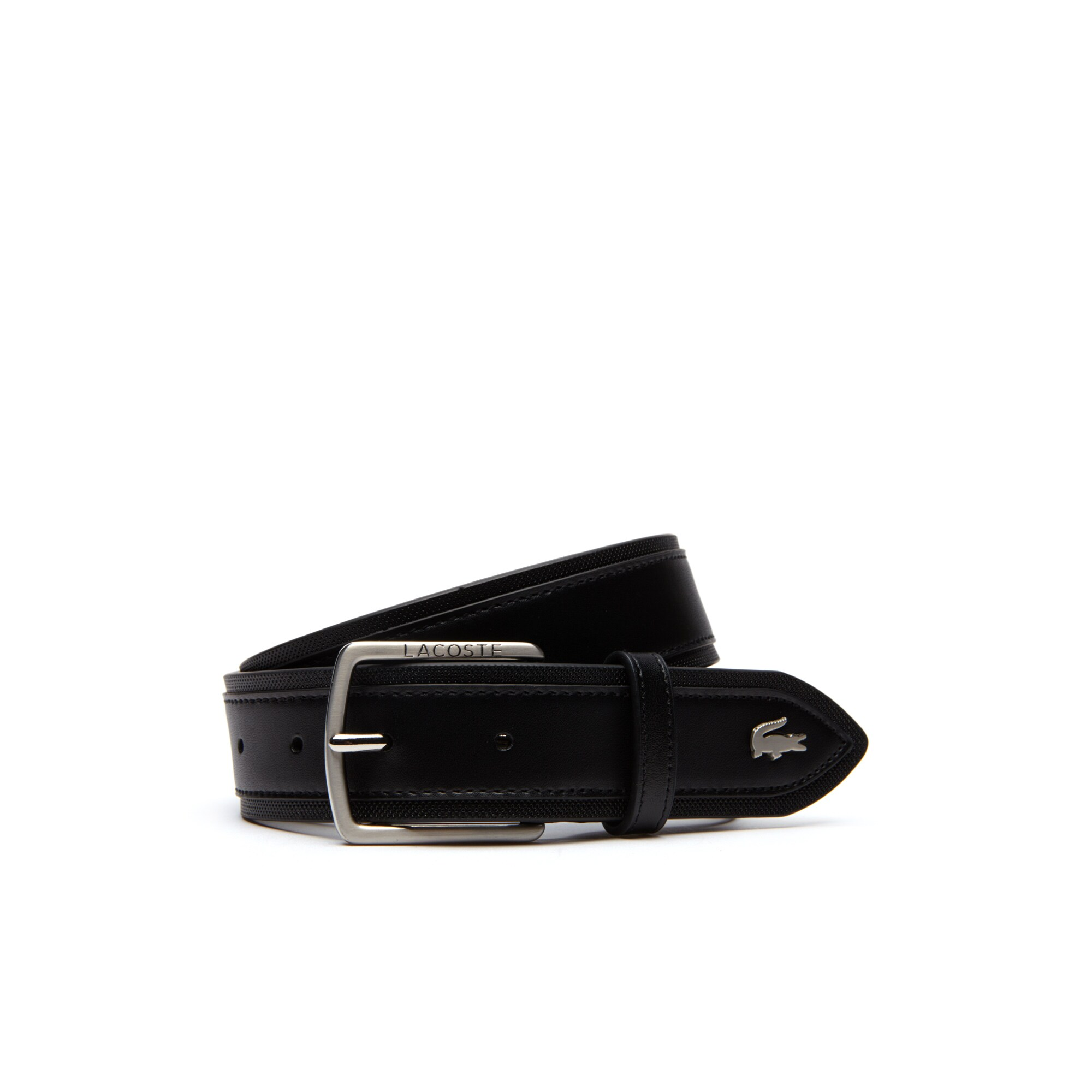 Men's Tongue Buckle Piqué Band Smooth and Piqué Leather Belt