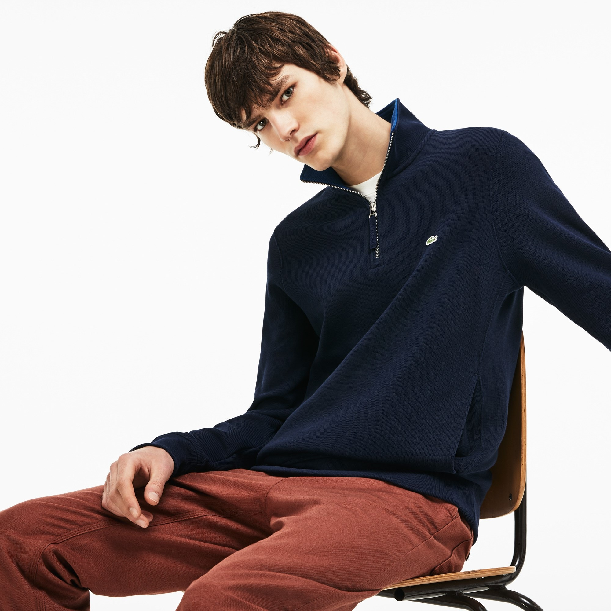Men's Zip Stand-Up Collar Ribbed Interlock Sweatshirt