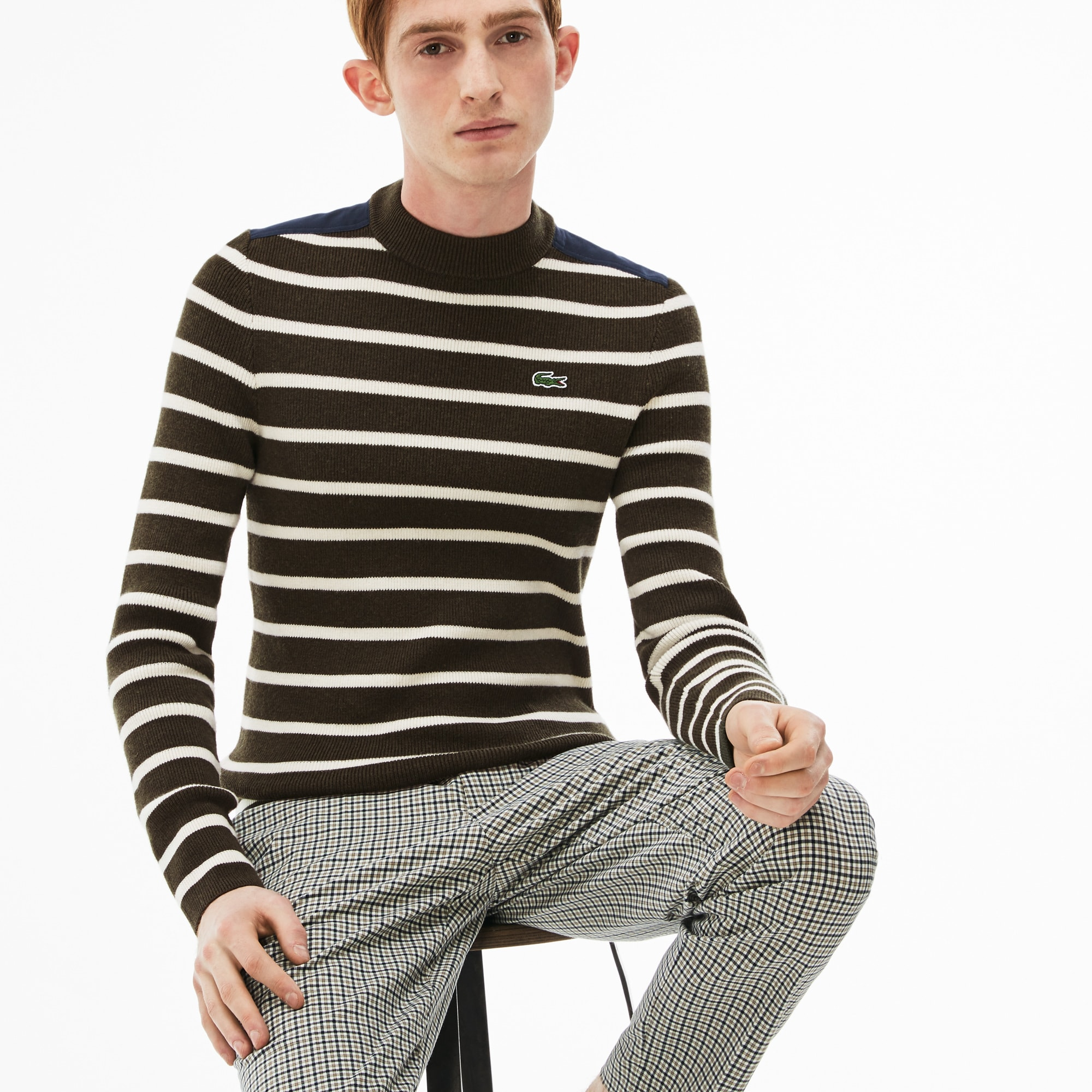 Men's Lacoste LIVE Crew Neck Striped Interlock Sweater