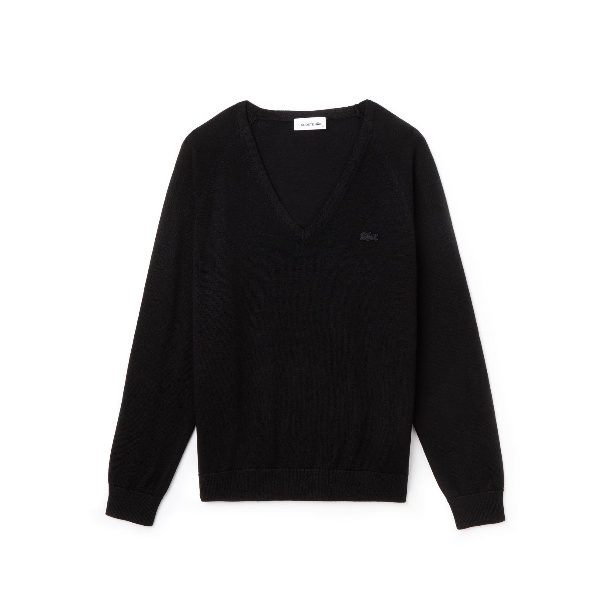 Women's V-neck Wool Jersey Sweater