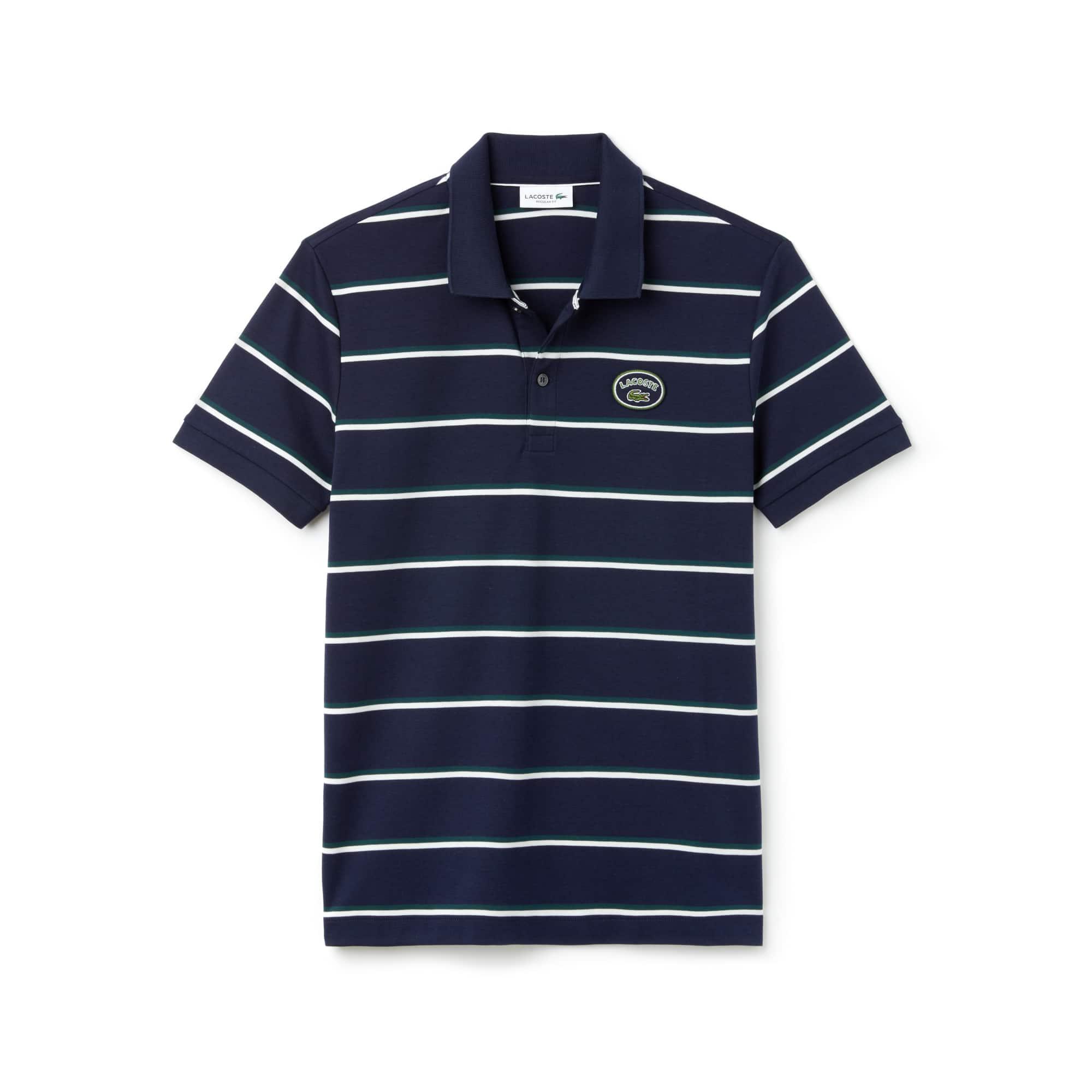 Men's Lacoste Regular Fit Striped Cotton Interlock Polo Shirt