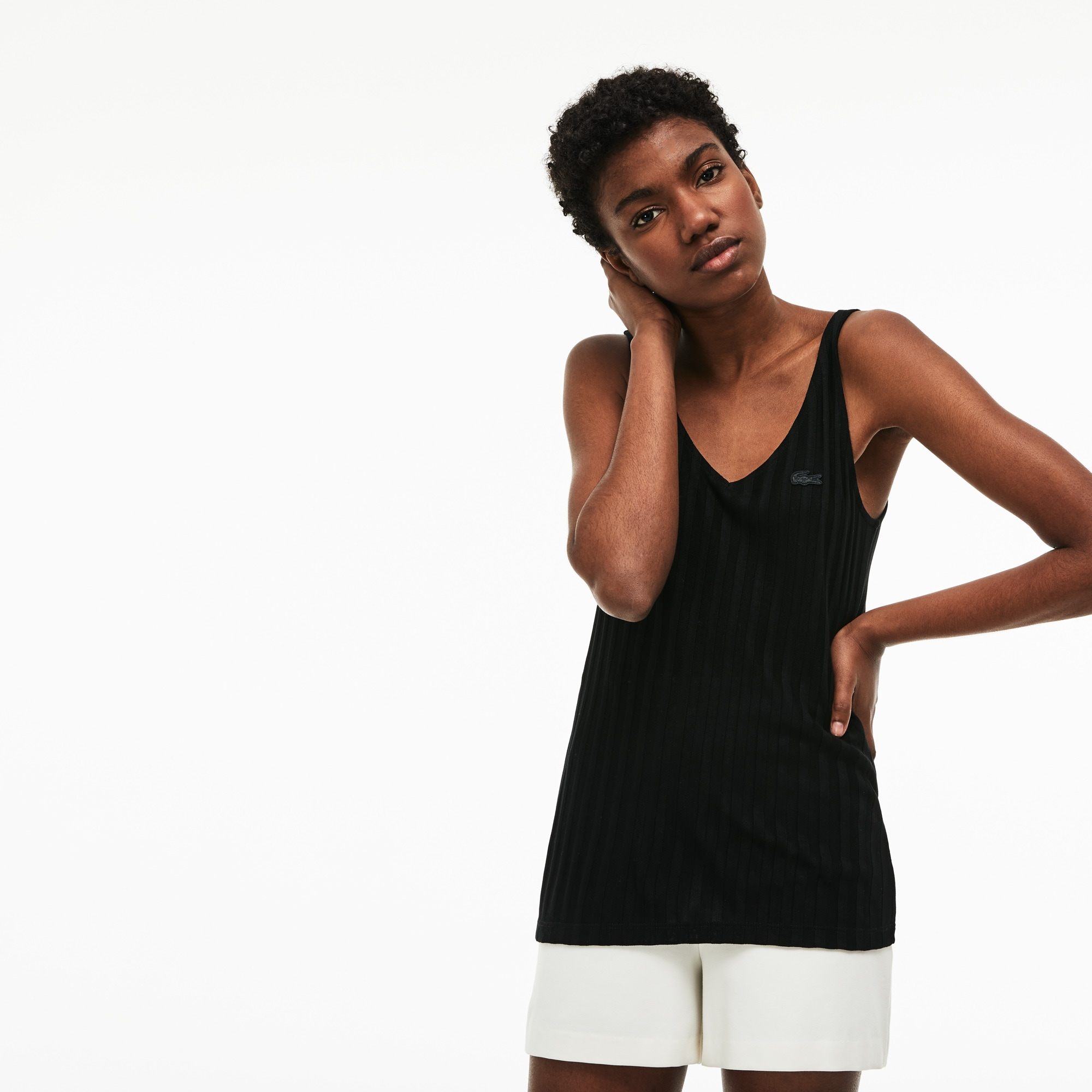 Women's V-neck Ribbed Knit Tank Top