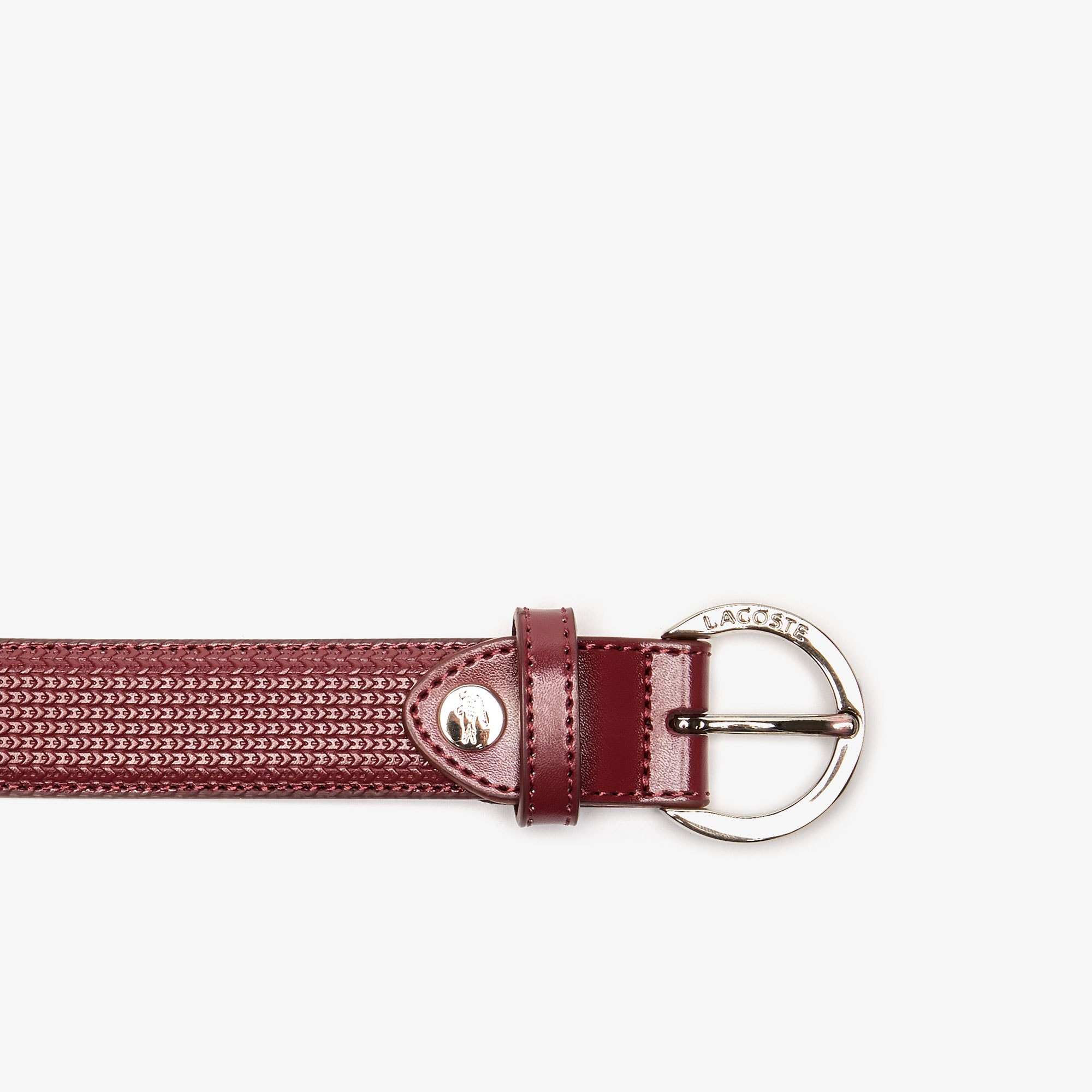 Women's Lacoste Engraved Round Buckle Texturised Leather Belt