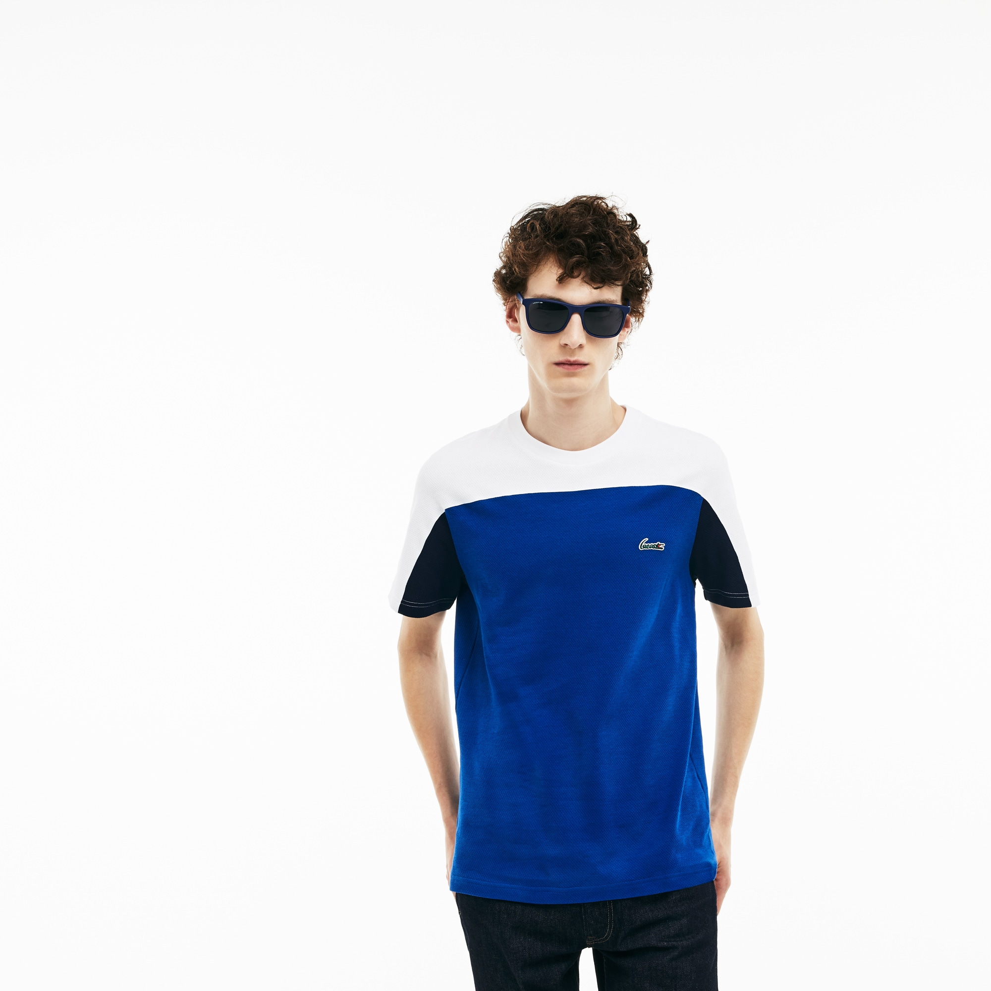 Men's Crew Neck Colorblock Mini Cotton Jacquard T-shirt