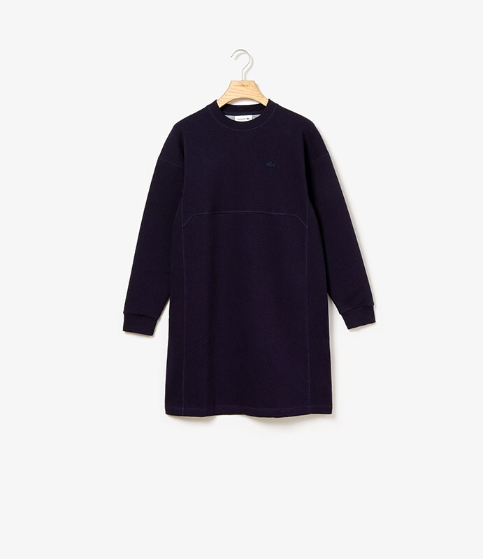Doubled faced fleece and jersey dress with ribbed panels