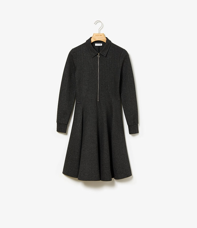 Robe polo en milano brossé avec encolure zippée