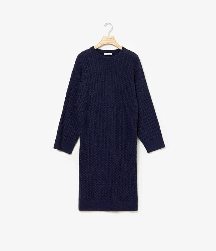 Robe pull torsadée en laine cachemire à manches longues