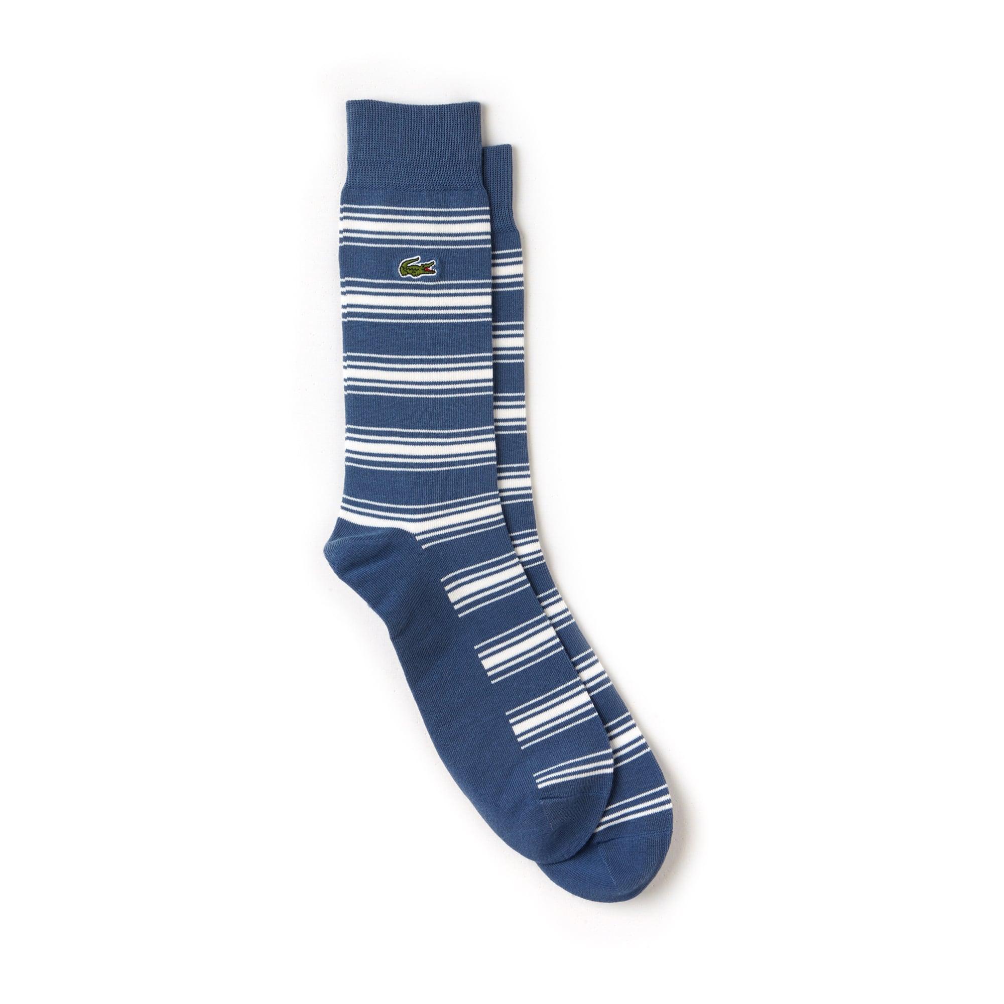 Herren-Socken aus gestreiftem Baumwolljersey mit Stretch