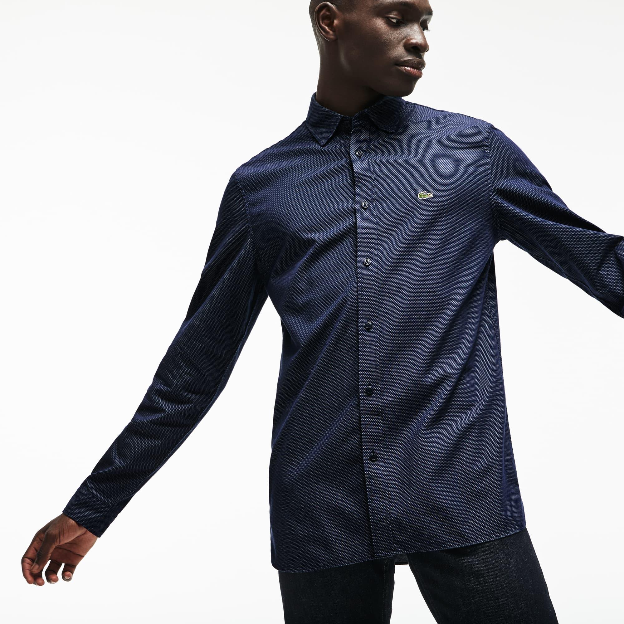 Slim Fit Herren-Hemd aus gepunkteter Jacquard-Popeline