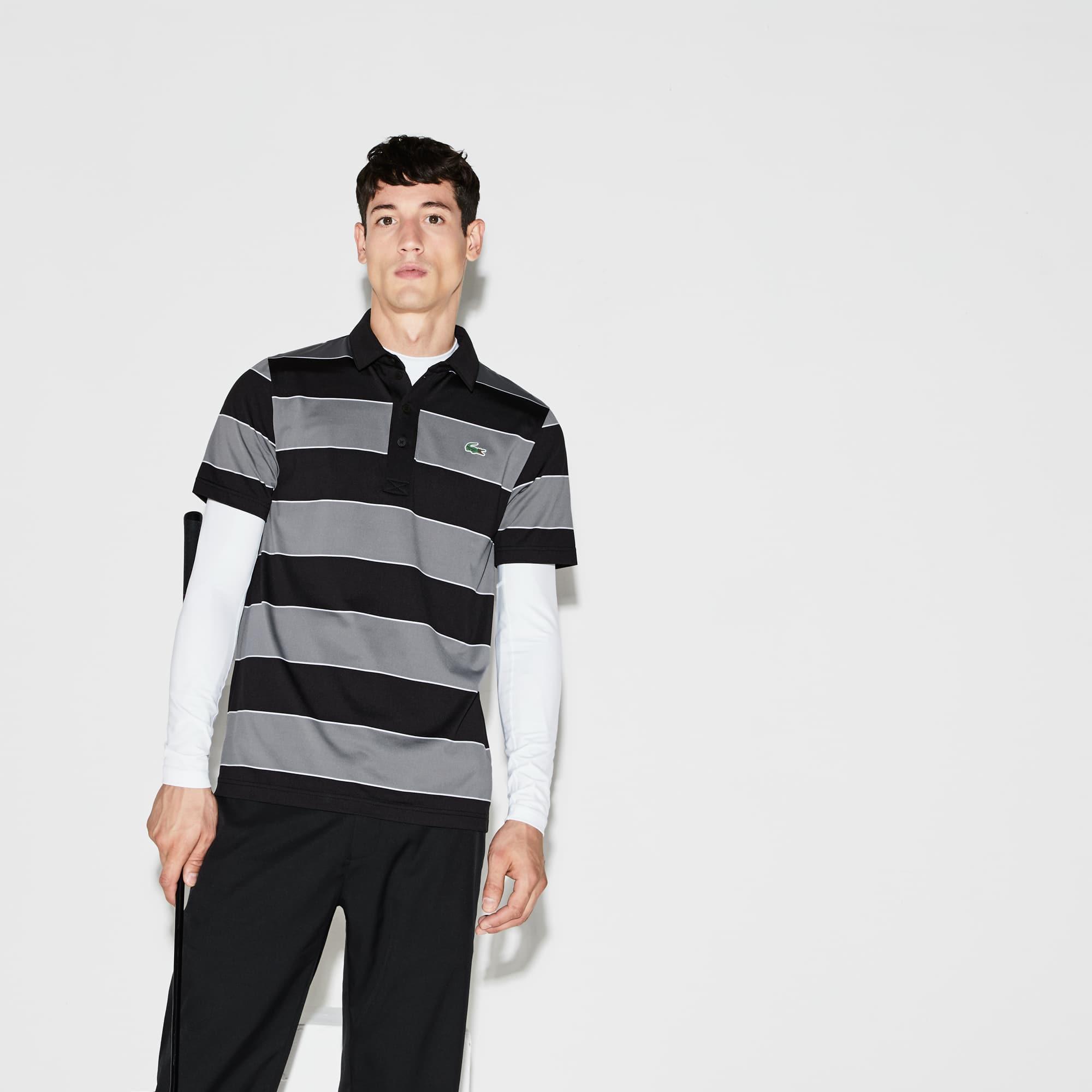 Herren LACOSTE SPORT gestreiftes Golf-Poloshirt aus Jersey