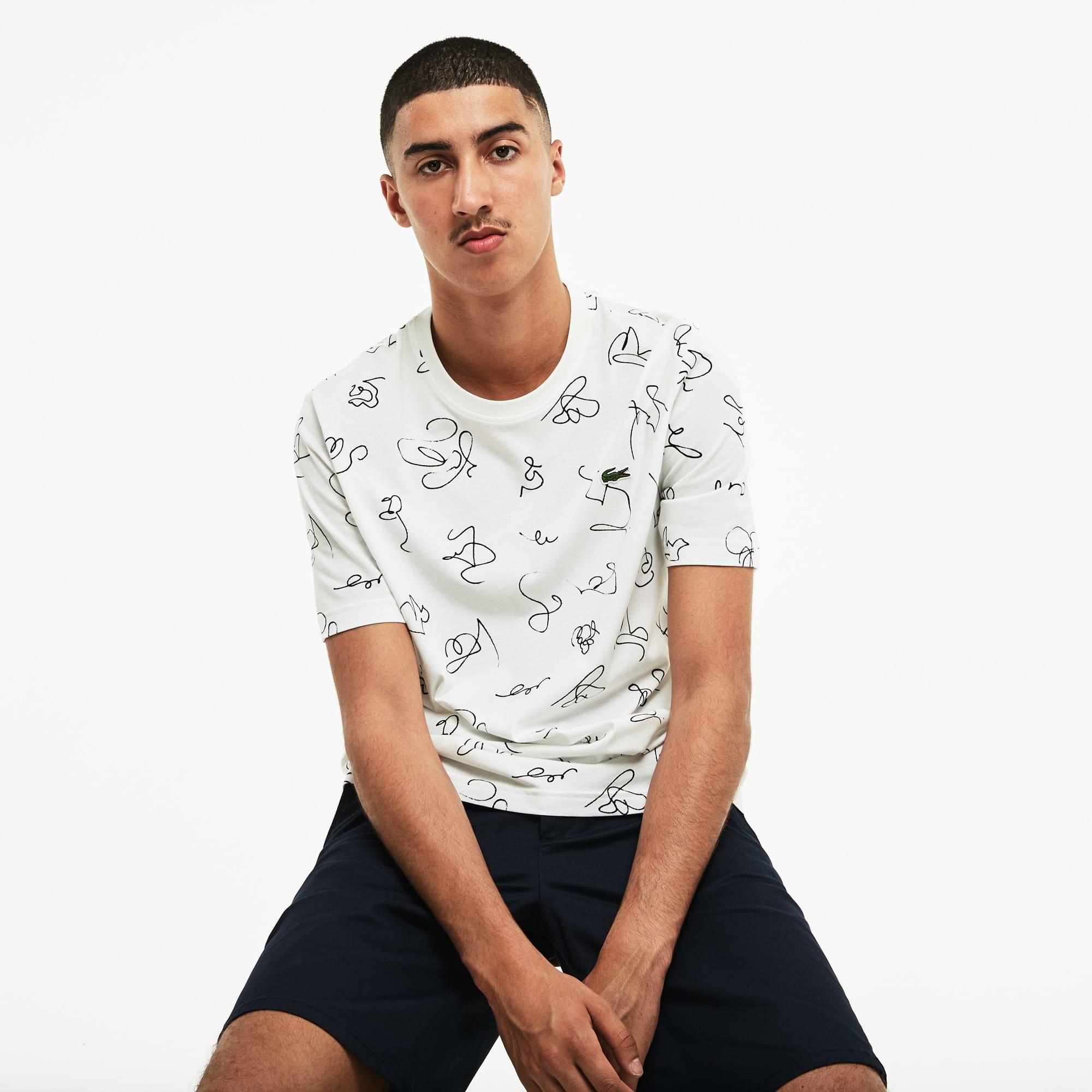 Herren LACOSTE LIVE Rundhals Jersey T-Shirt mit Kritzel-Print