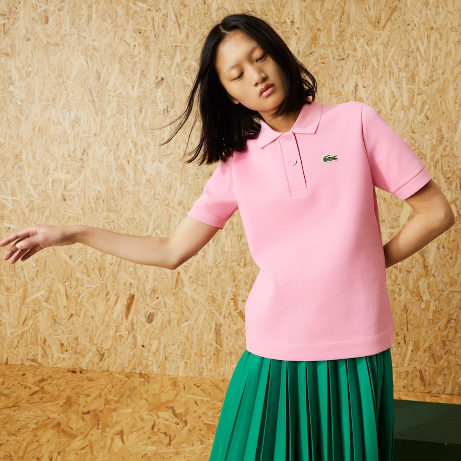 Baumwoll-Poloshirt mit Stretch Damen LACOSTE Fashion Show Edition