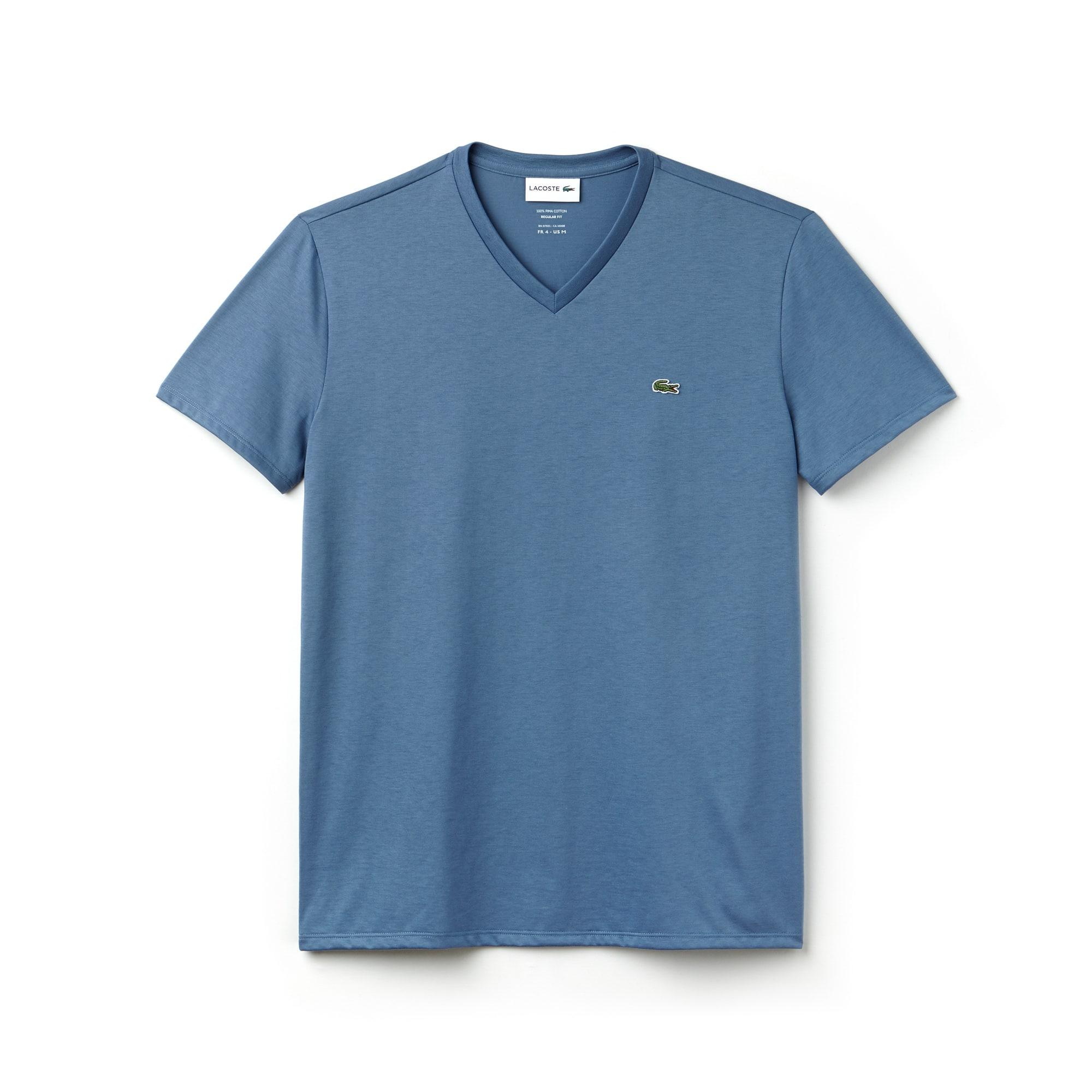 Herren-Shirt aus Pima-Baumwolljersey mit V-Ausschnitt