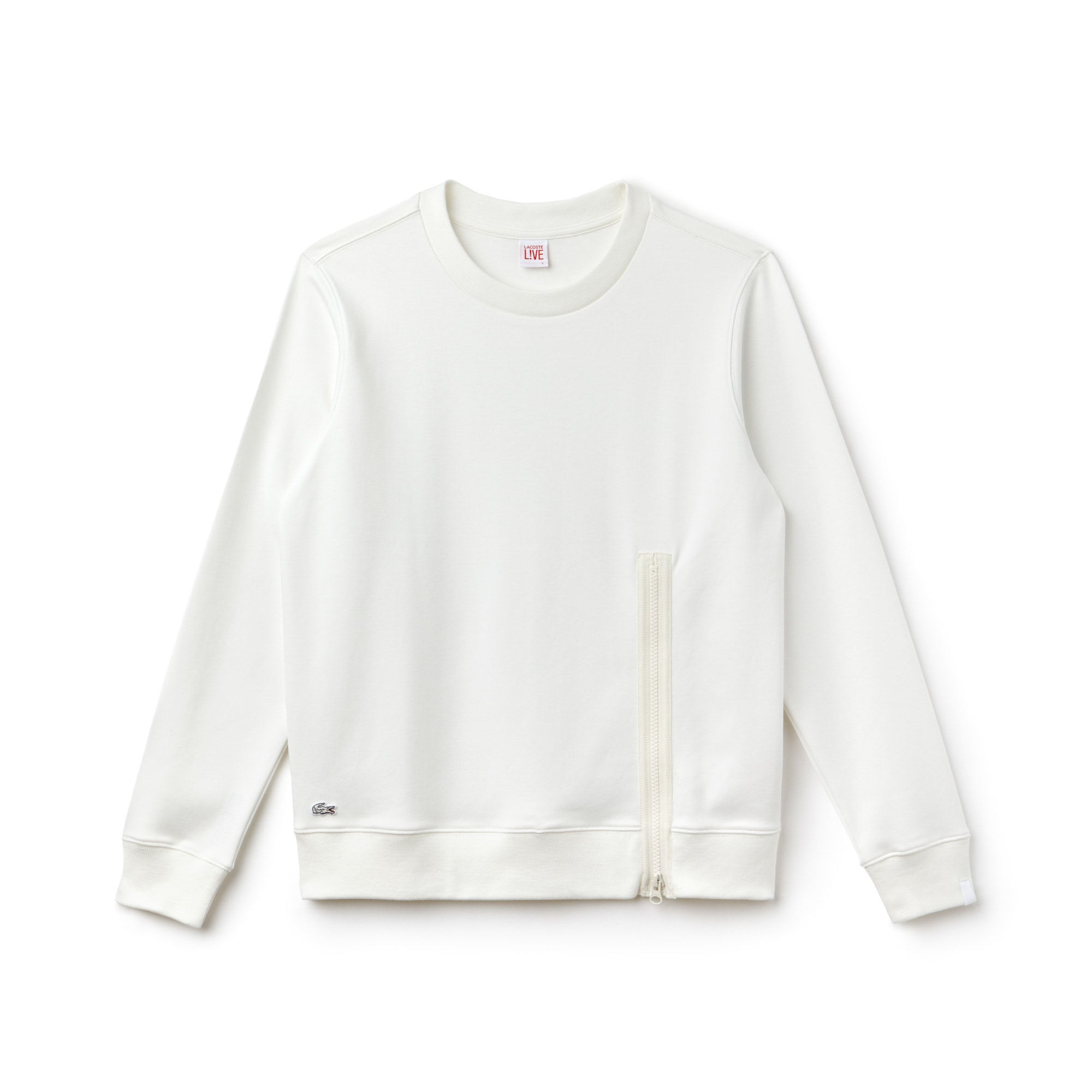 Damen-Rundhals-Sweatshirt aus Interlock LACOSTE L!VE