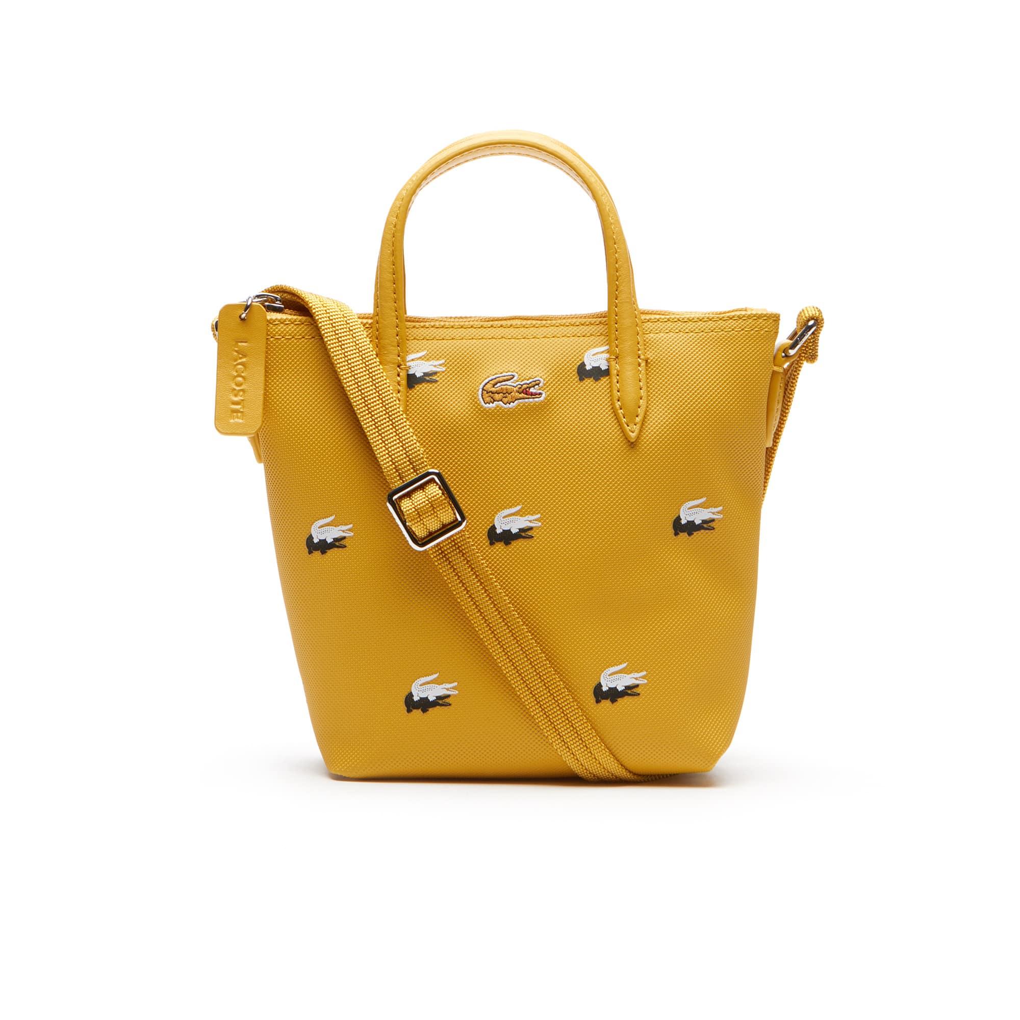 Damen L.12.12 CONCEPT Tote Bag aus Petit Piqué mit Croc-Print
