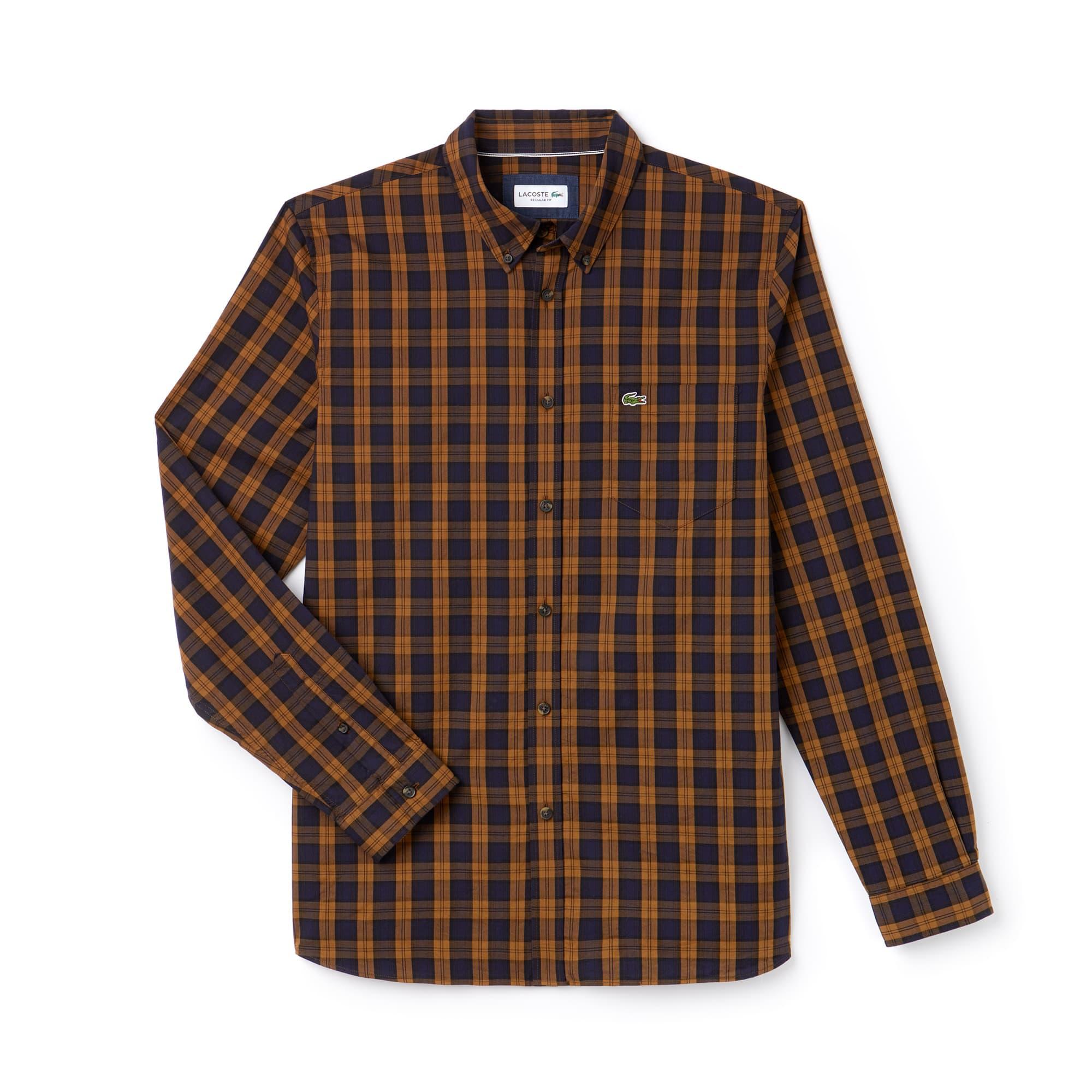 Herren Regular Fit Hemd aus kariertem Baumwolltwill