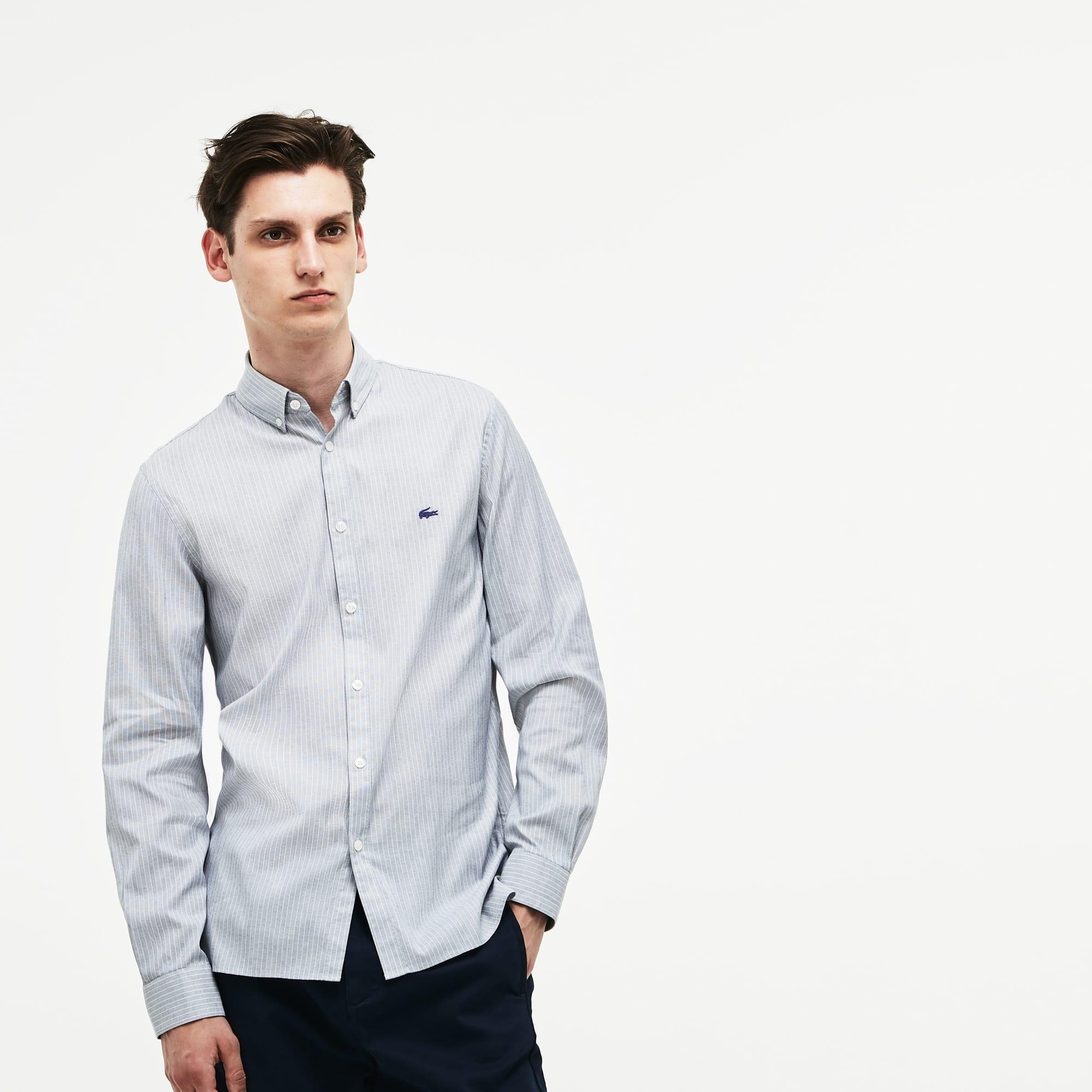 Herren Slim Fit gestreiftes Baumwollstretch-Pinpoint Hemd