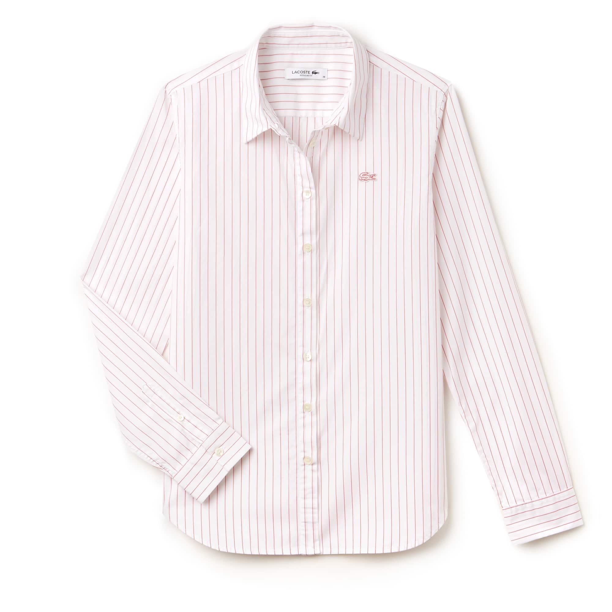 Regular Fit Damen-Hemd aus Baumwoll-Popeline mit Streifen