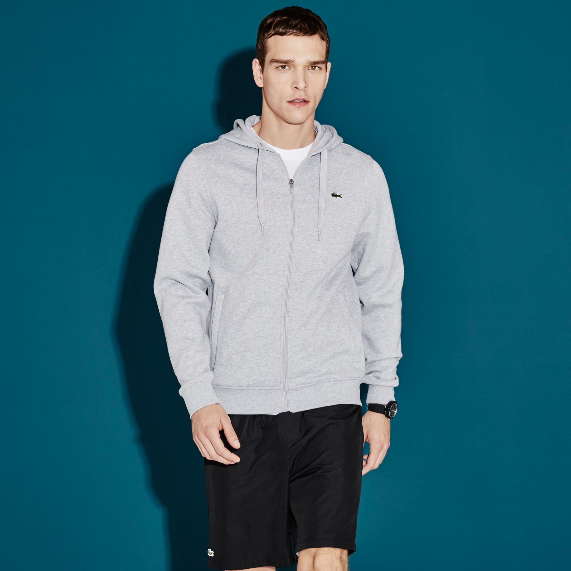 Einfarbige Fleece-Sweatjacke mit Kapuze LACOSTE SPORT Tennis