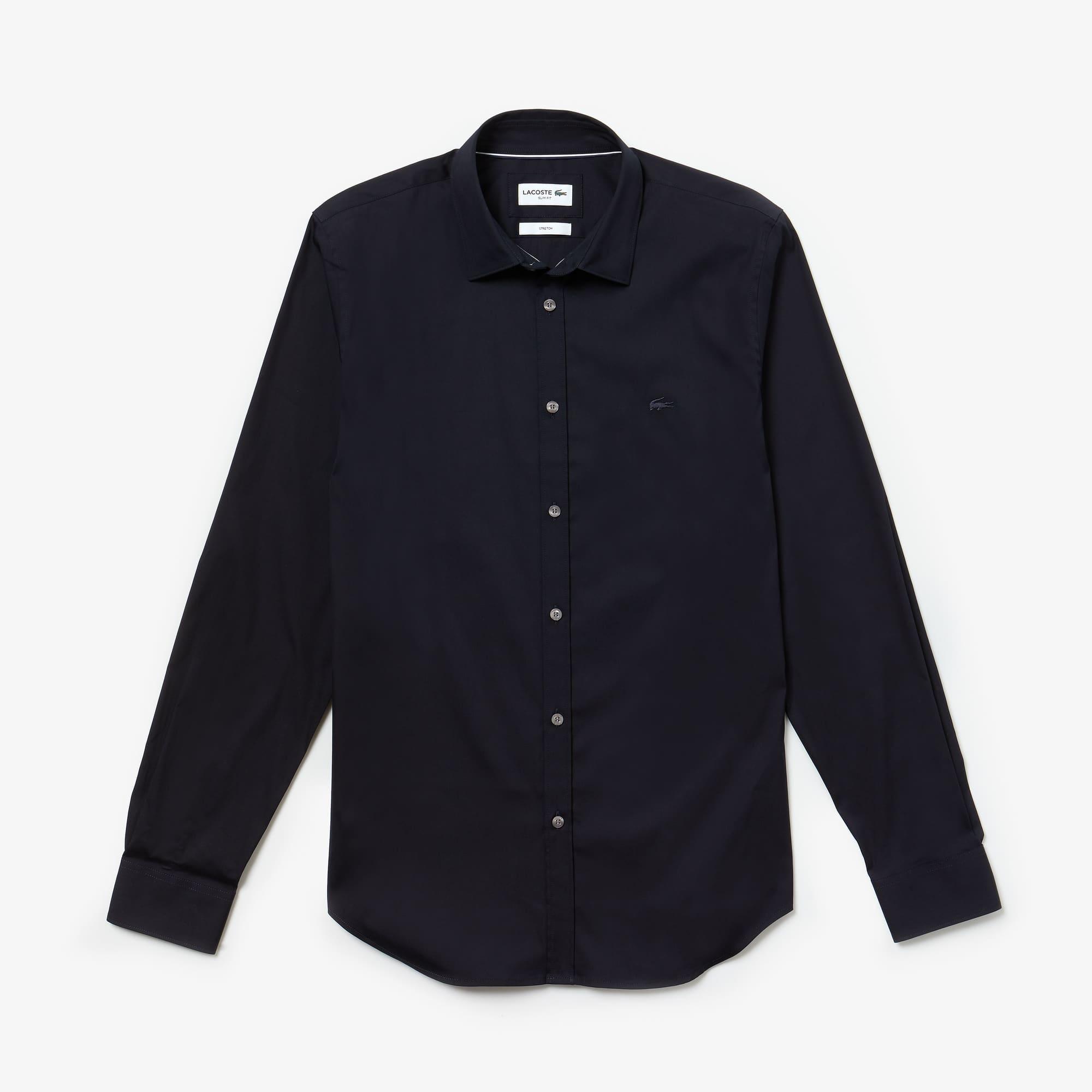 Slim Fit Herren-Hemd aus Baumwoll-Popeline mit Stretch