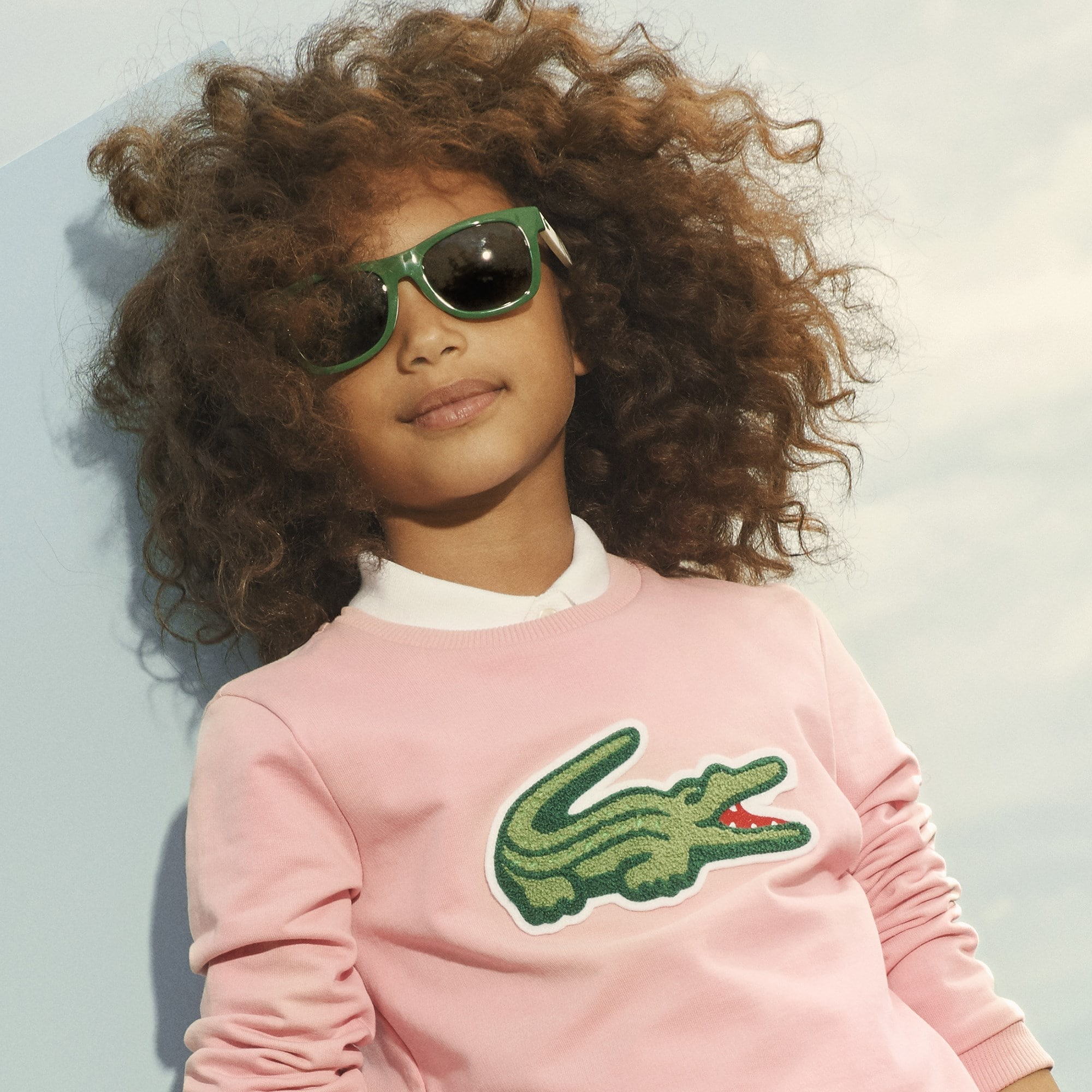 Mädchen-Sweatshirt aus Stretch-Fleece mit großem Krokodil