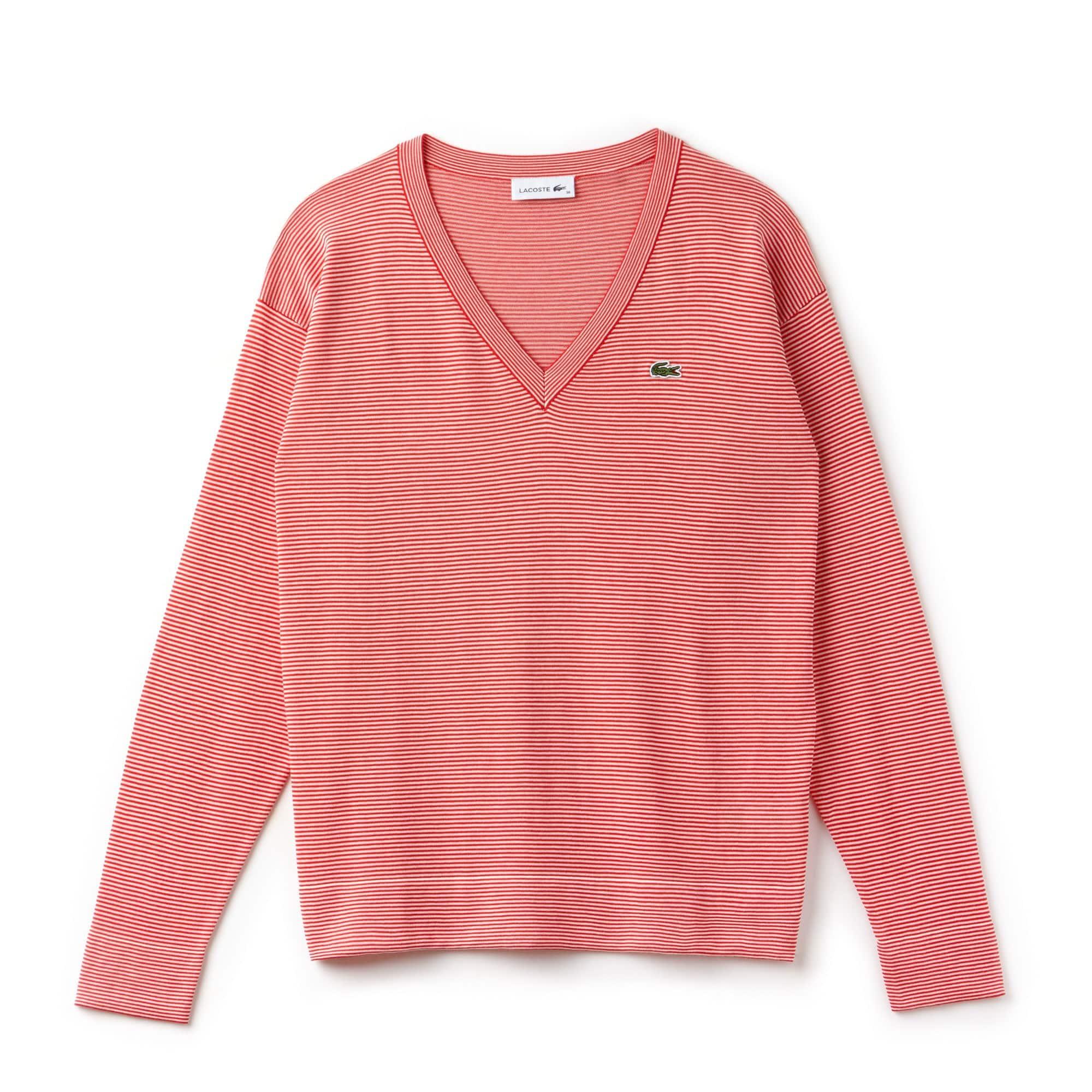 Damen-Pullover aus Baumwolljersey mit Nadelstreifen