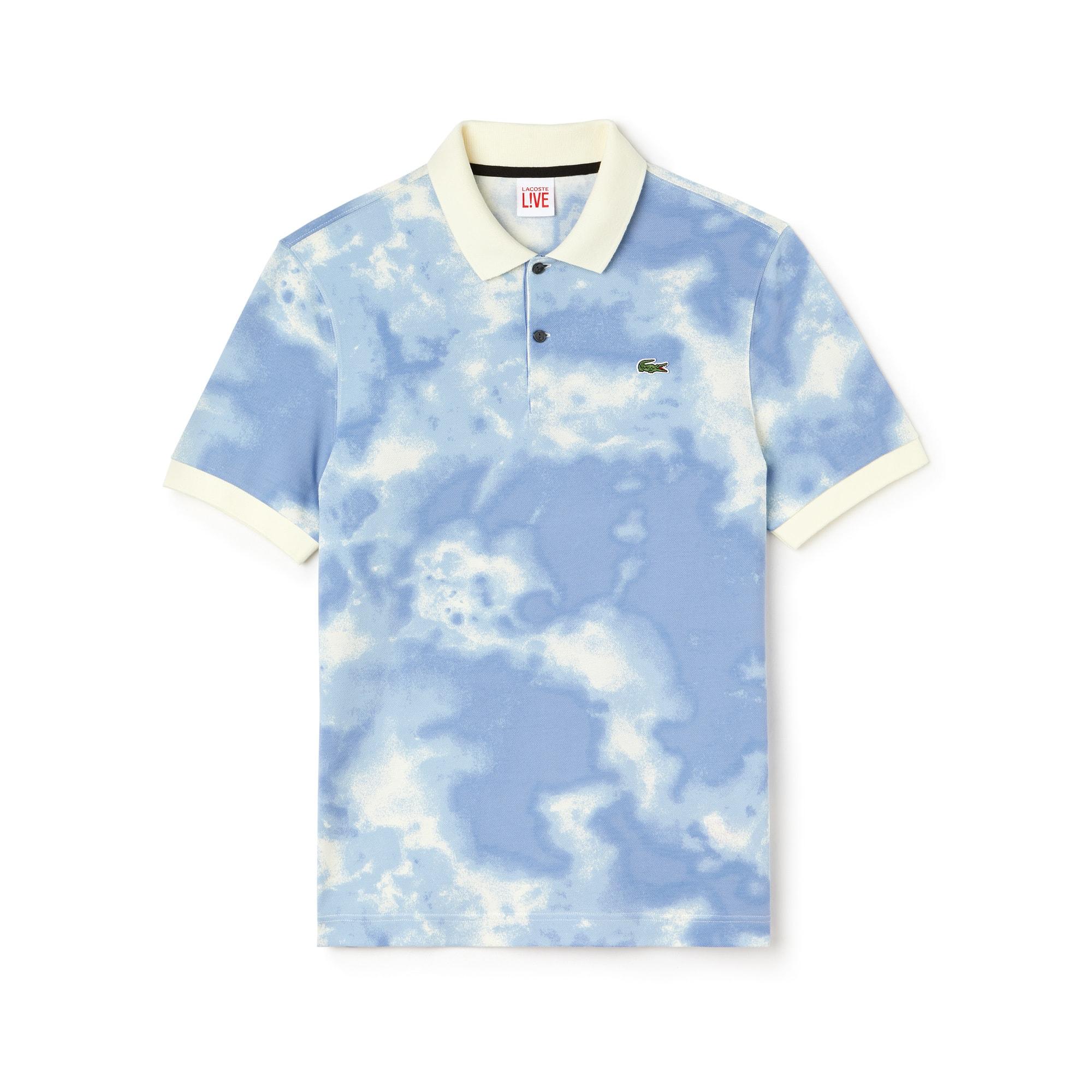 Herren LACOSTE L!VE Mini-Piqué Poloshirt mit Wolken-Print