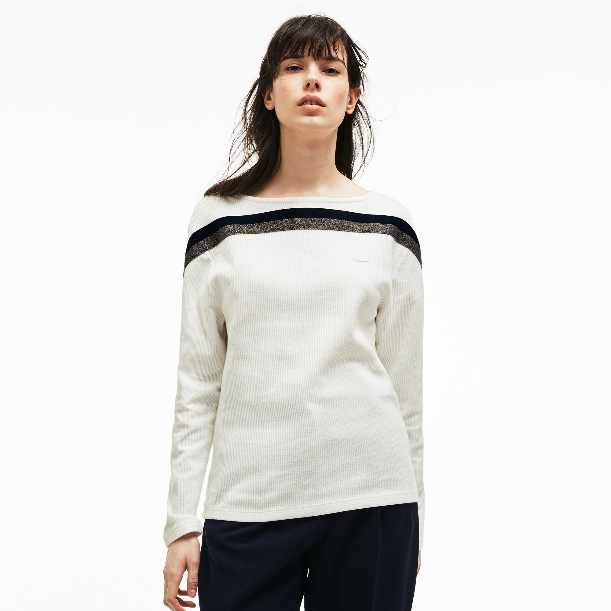 Damen MADE IN FRANCE Baumwoll-Sweatshirt mit U-Boot-Ausschnitt