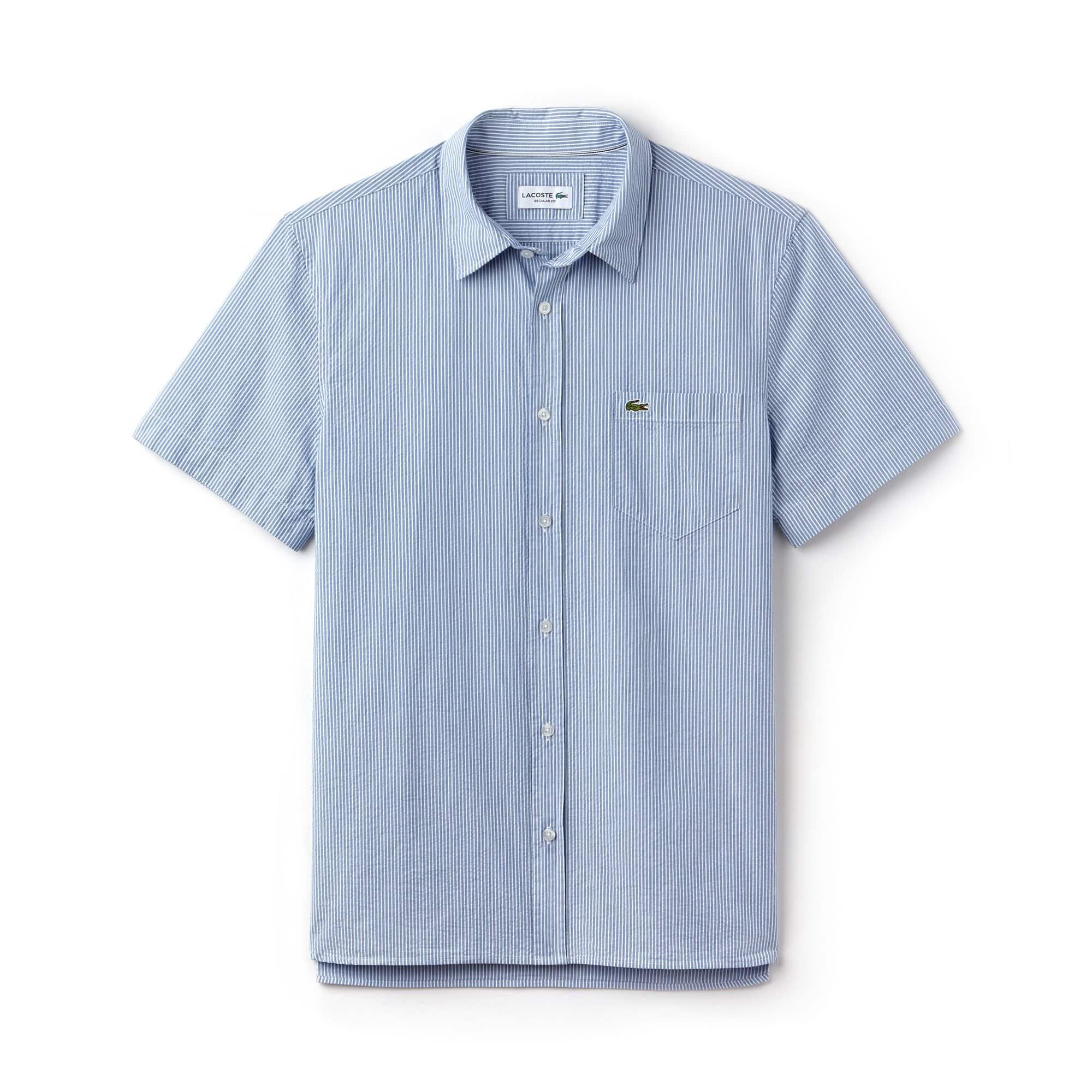 Herren Regular Fit gestreiftes Seersucker Hemd