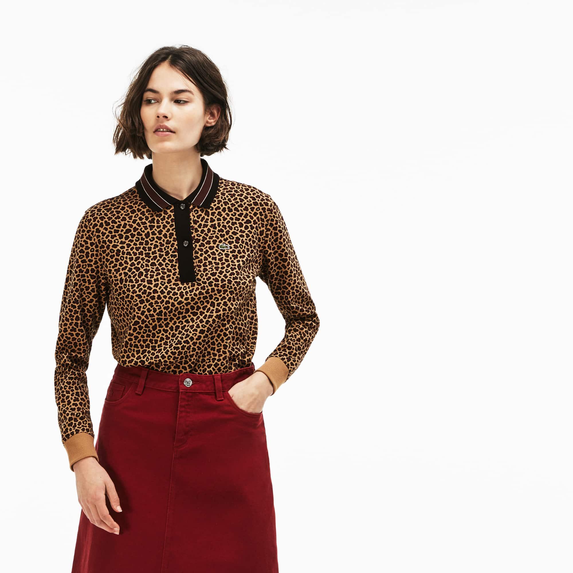 Damen LACOSTE L!VE Interlock-Poloshirt mit Leopard-Print