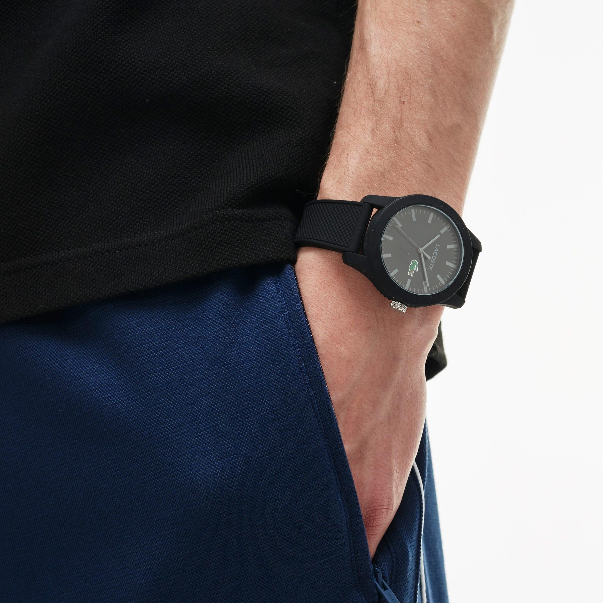 LACOSTE 12.12 Herrenuhr mit schwarzem Silikonband