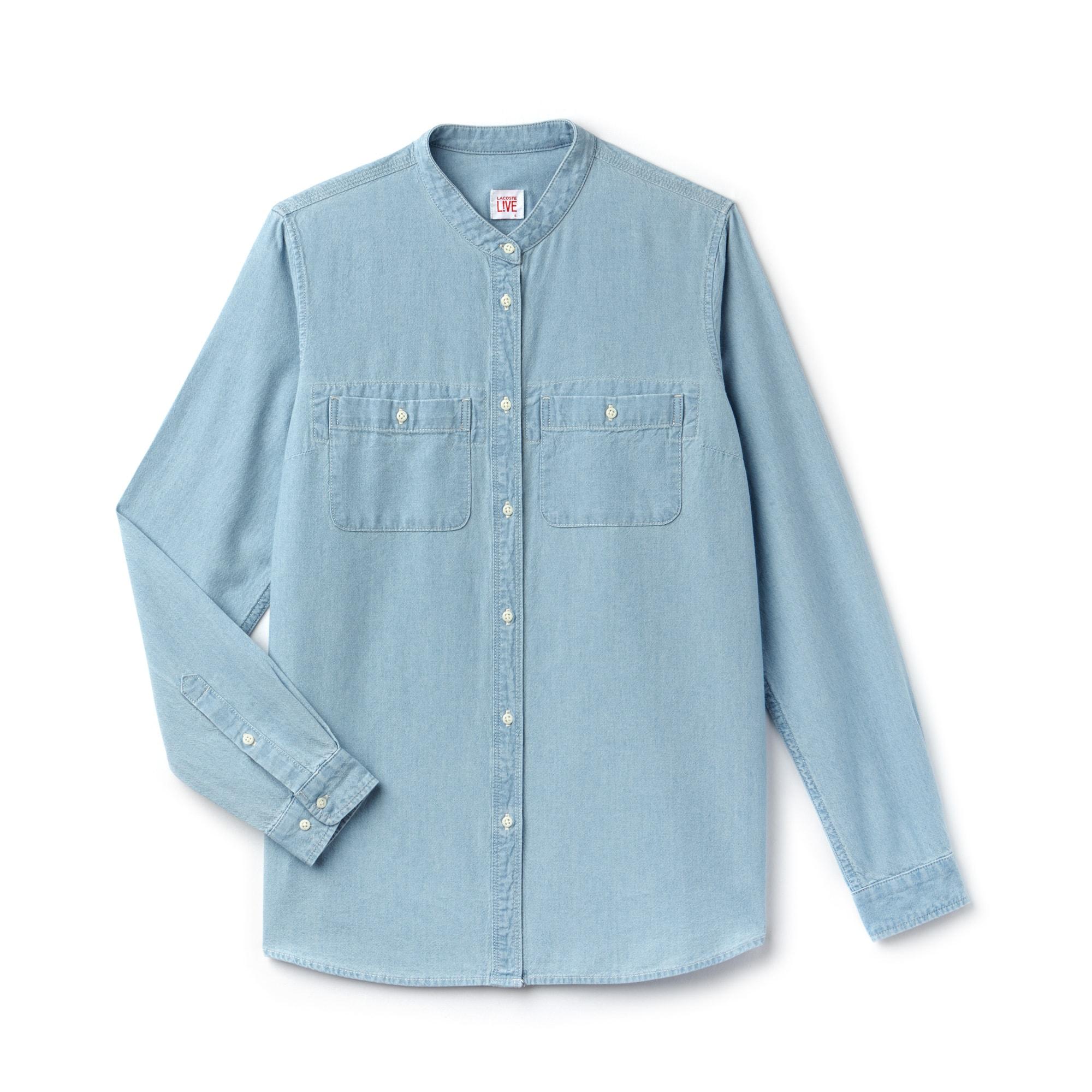 Lockere Damen-Bluse aus Chambray LACOSTE L!VE