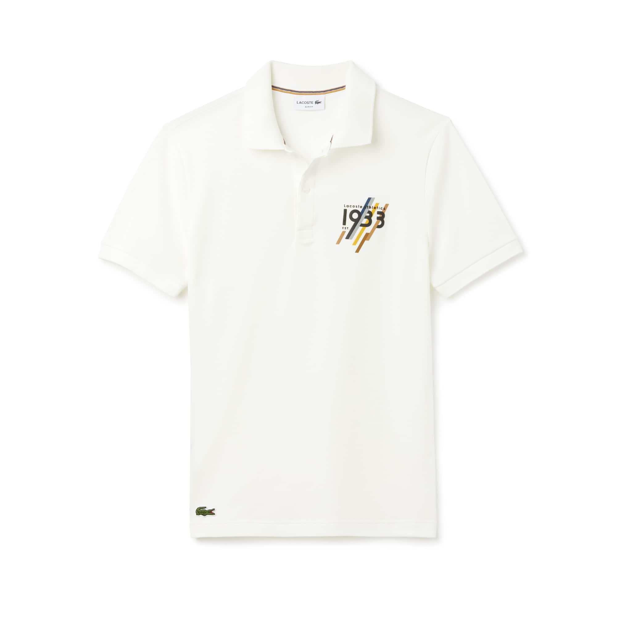 Herren LACOSTE Slim Fit Herren-Poloshirt mit 1933-Schriftzug