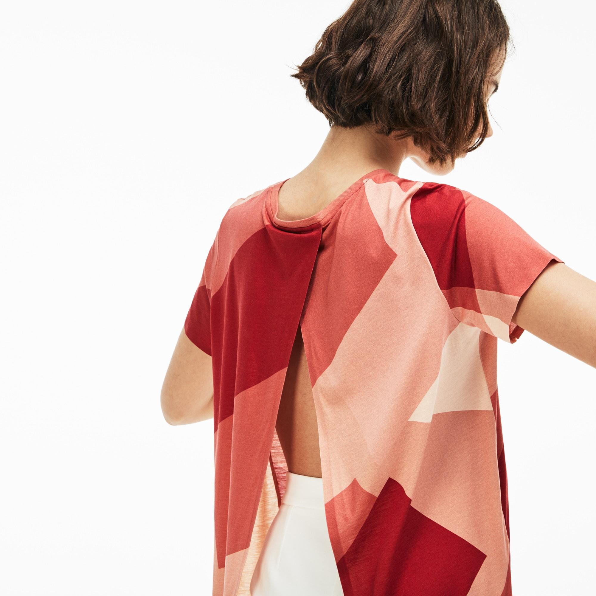 Damen-Rundhals-T-Shirt aus bedrucktem Jersey mit offenem Rücken