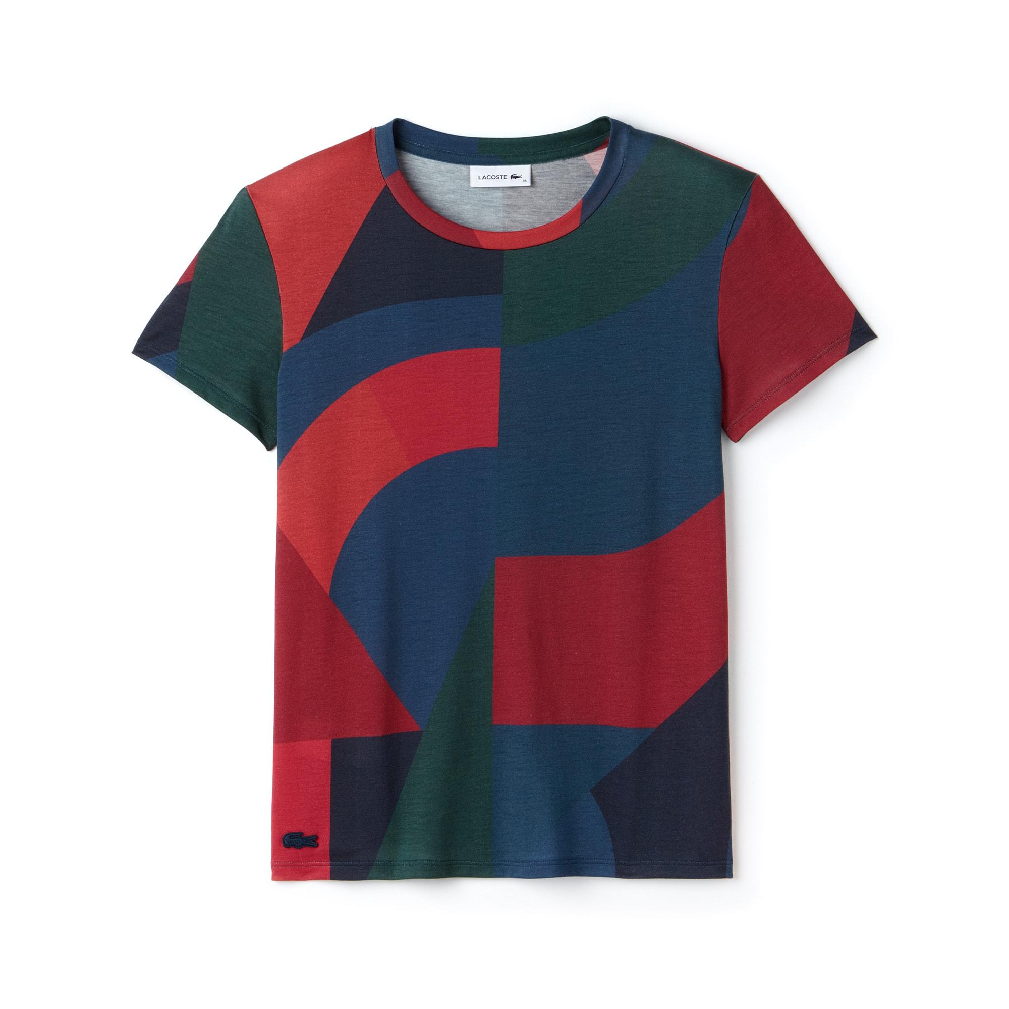 Damen Colorblock-Rundhals-T-Shirt aus Lyocell und Baumwolljersey