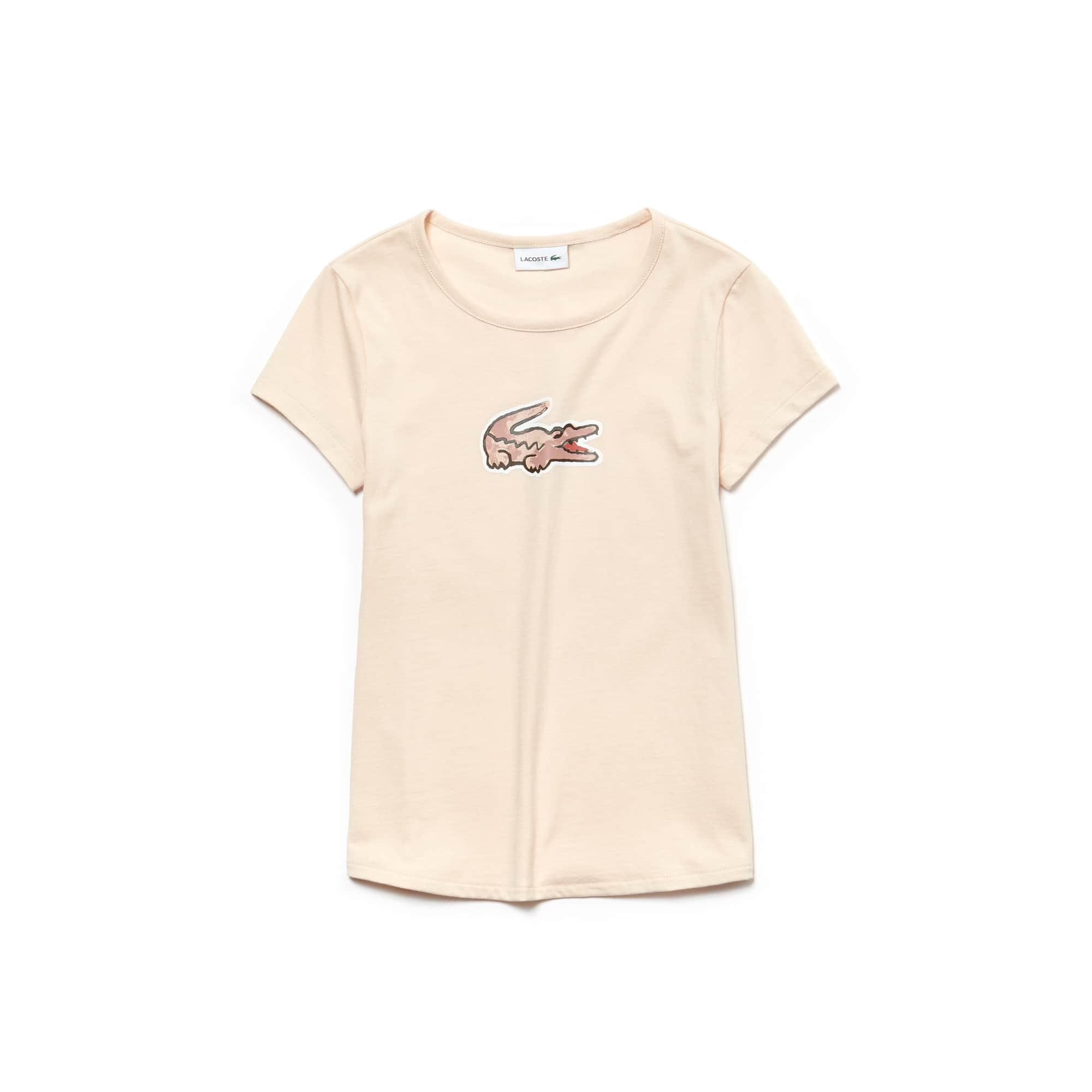 Mädchen-Rundhals-T-Shirt aus Jersey mit Krokodilaufdruck