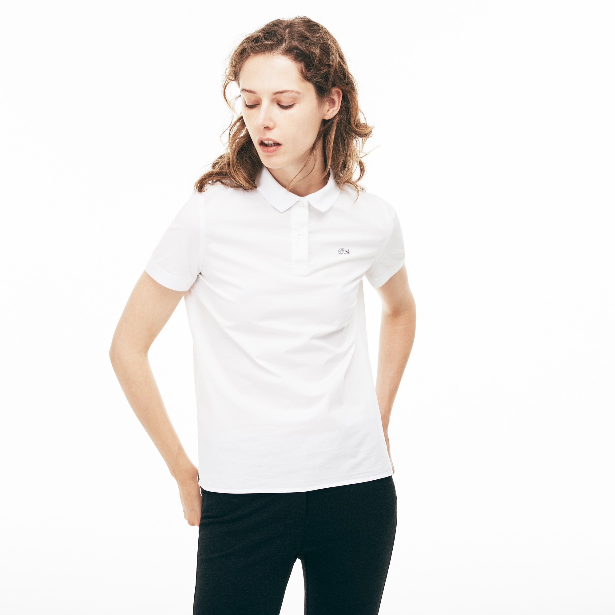 Regular Fit Damen-Poloshirt aus Stretch-Popeline PARIS Kollektion