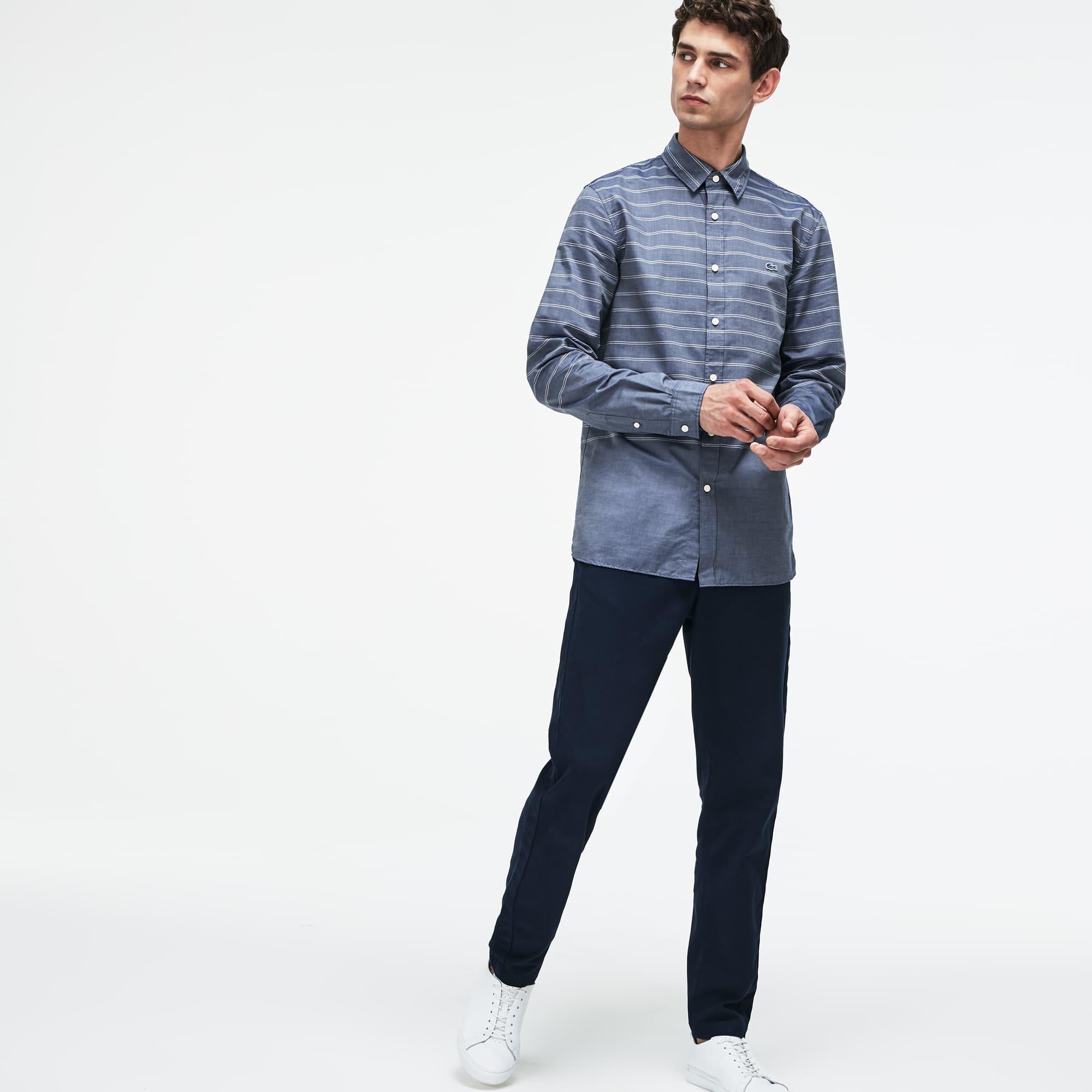 Herren Slim Fit Hemd aus gestreiftem Popeline LACOSTE MOTION