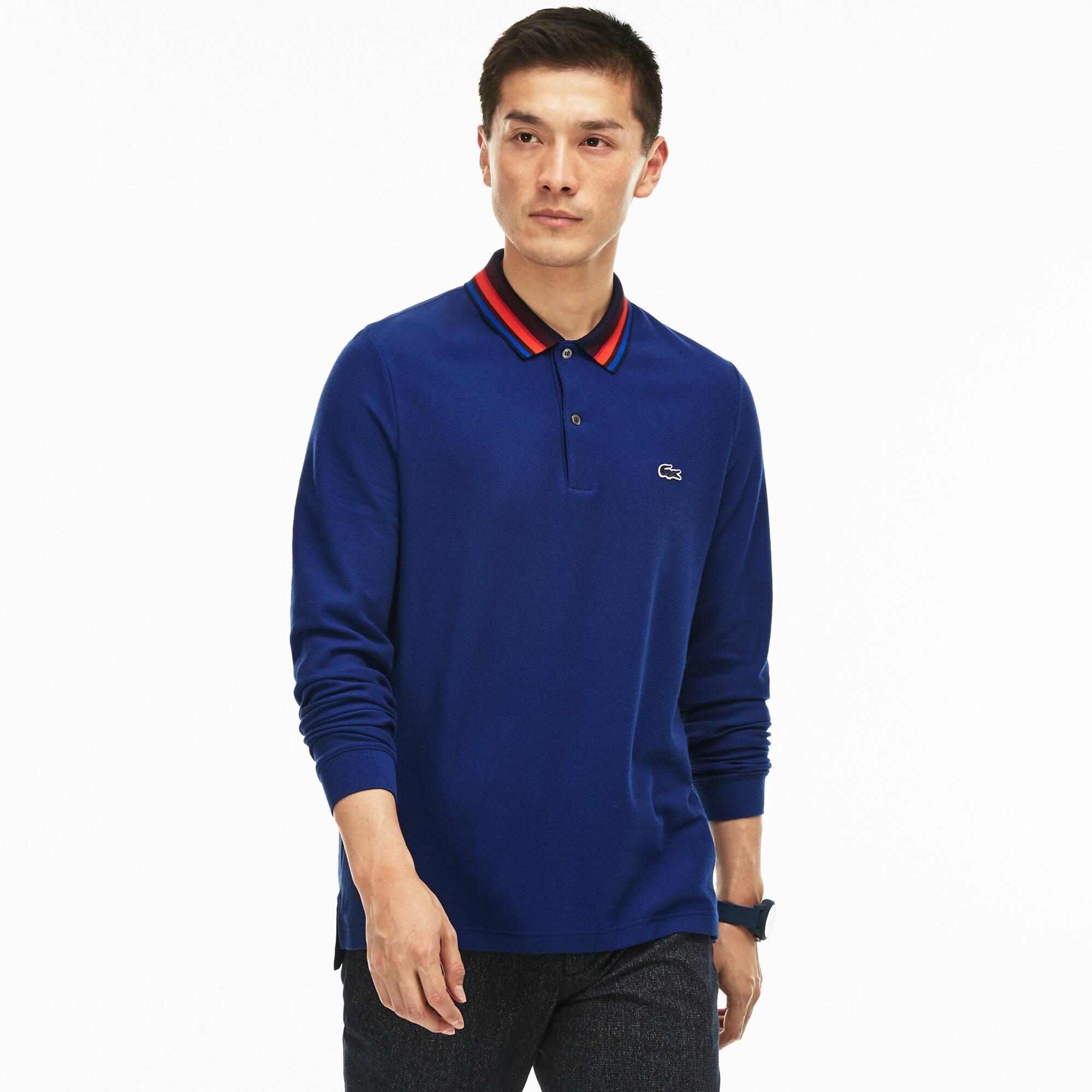 LACOSTE Regular Fit Herren-Poloshirt aus Piqué mit Paspeln