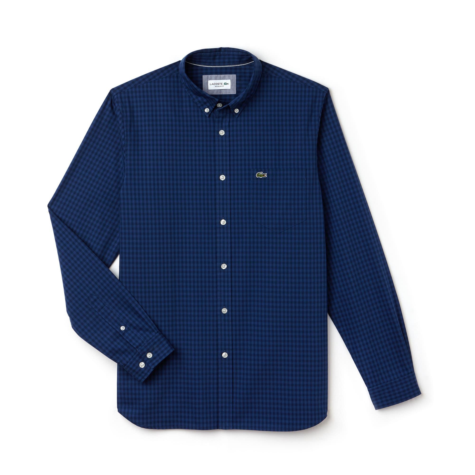 Regular Fit Herren-Hemd aus Baumwoll-Popeline mit Karomuster