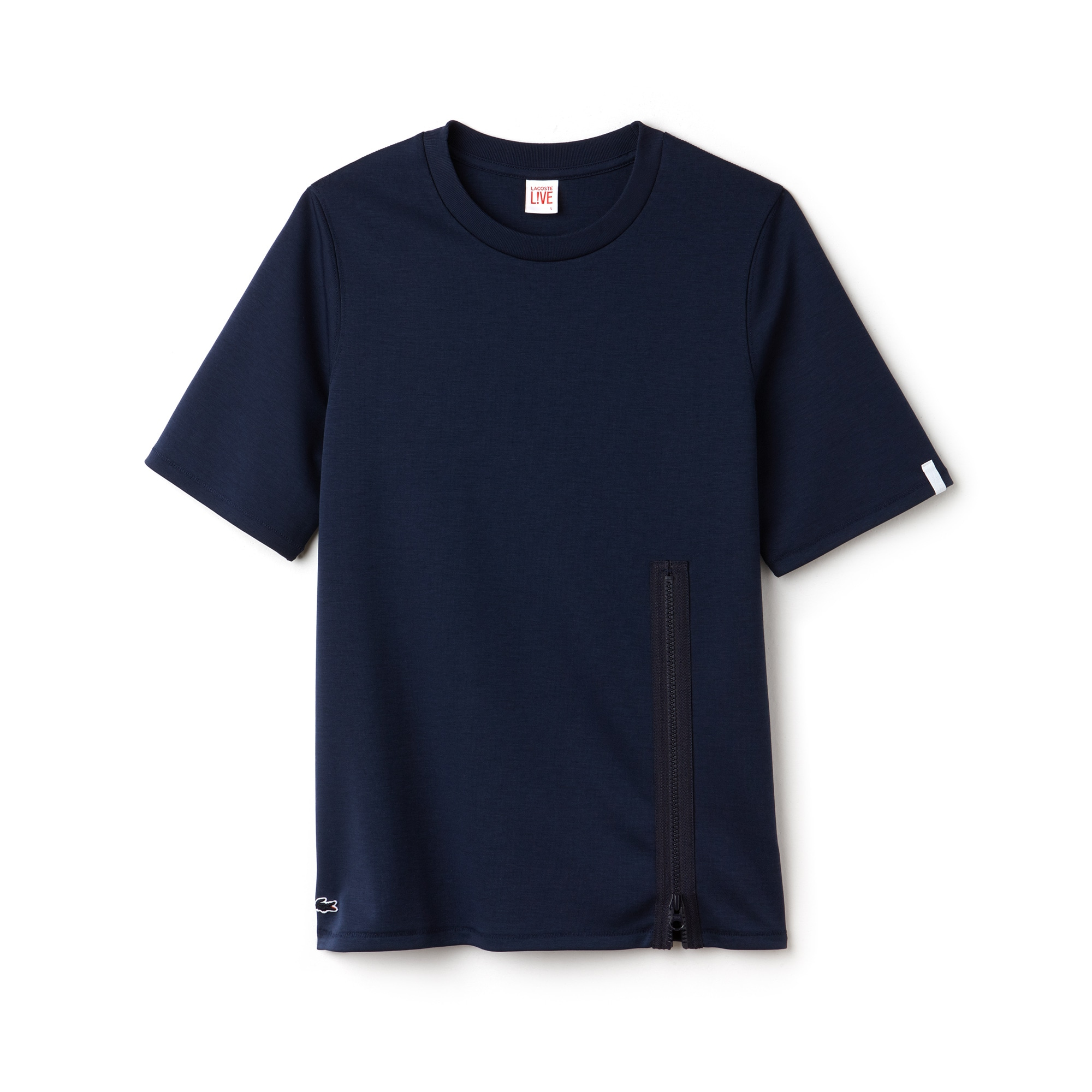 Damen-Rundhals-T-Shirt aus Jersey mit Reißverschluss LACOSTE L!VE