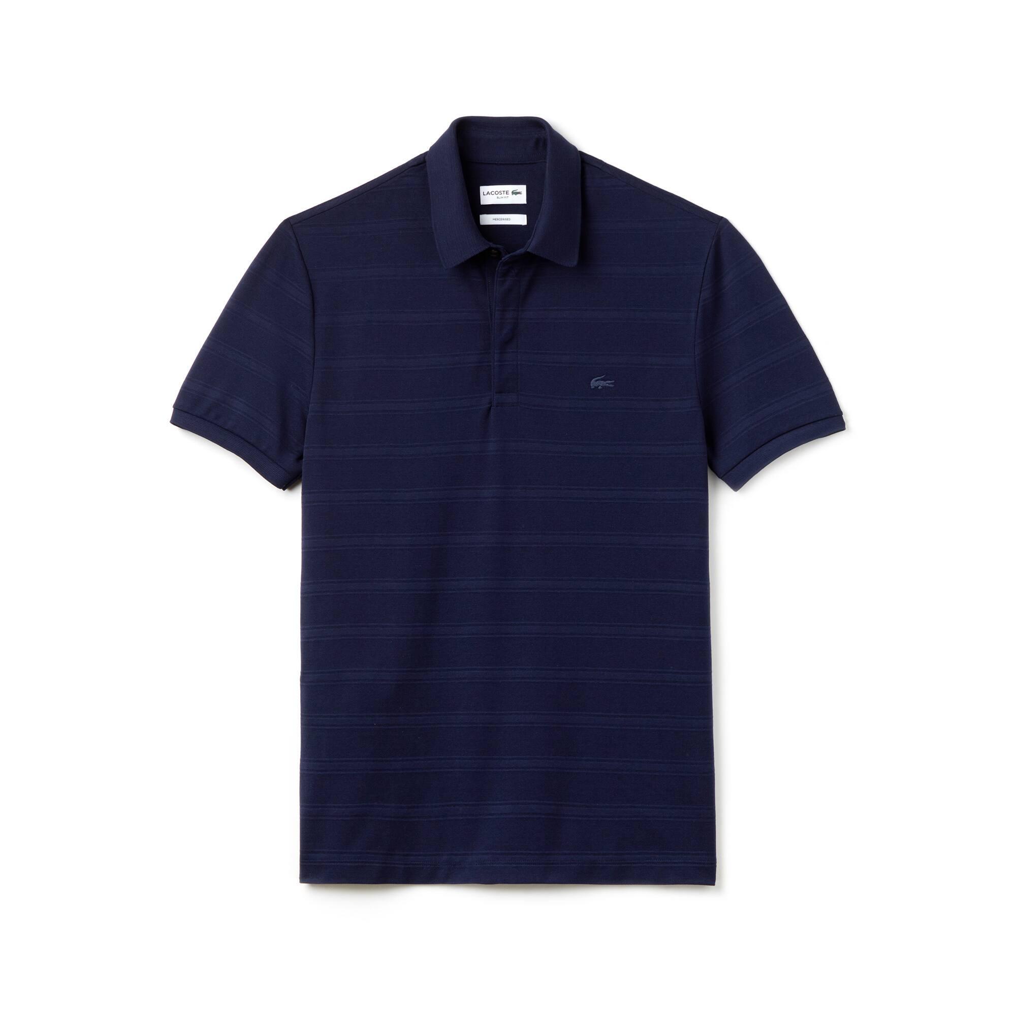 Slim Fit Herren-Polo aus Jersey und Baumwoll-Piqué mit Streifen