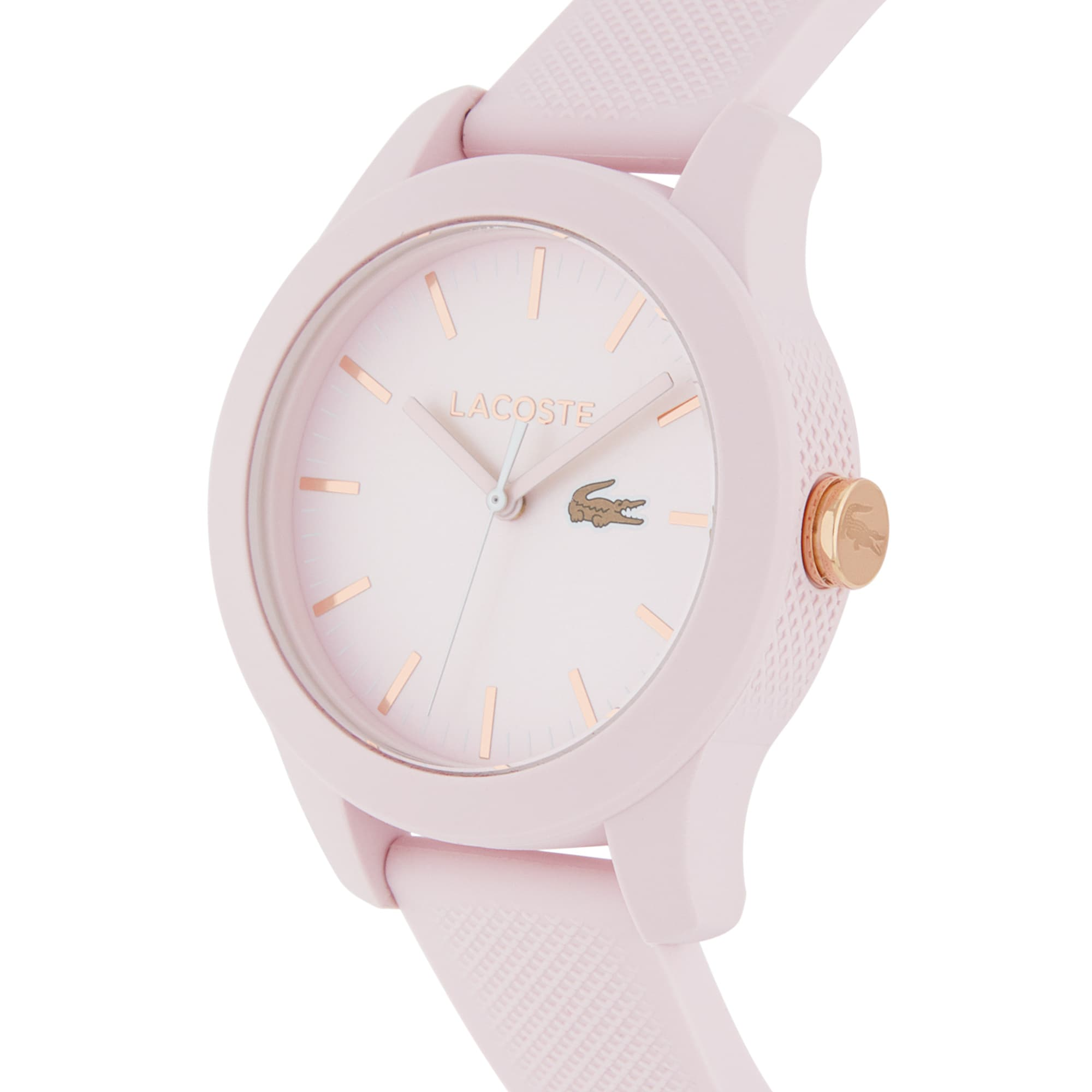 LACOSTE 12.12 Damenuhr mit pinkem Silikonband