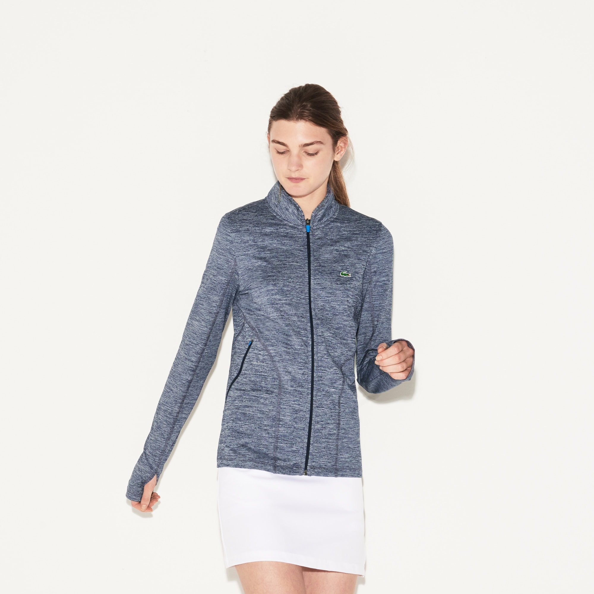 Layer Sweatshirt mit Zipper aus technischem Stretch für Damen
