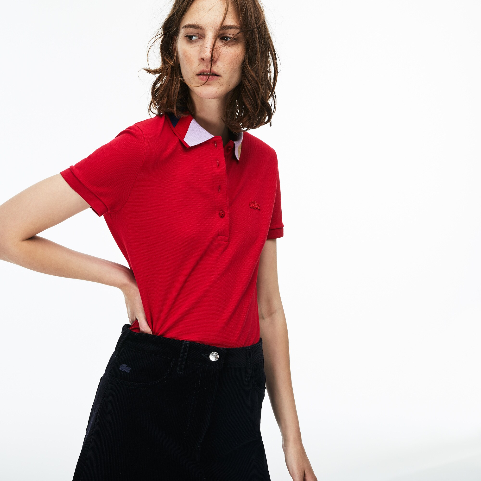 Damen LACOSTE Slim Fit Poloshirt mit Colorblock Kragen