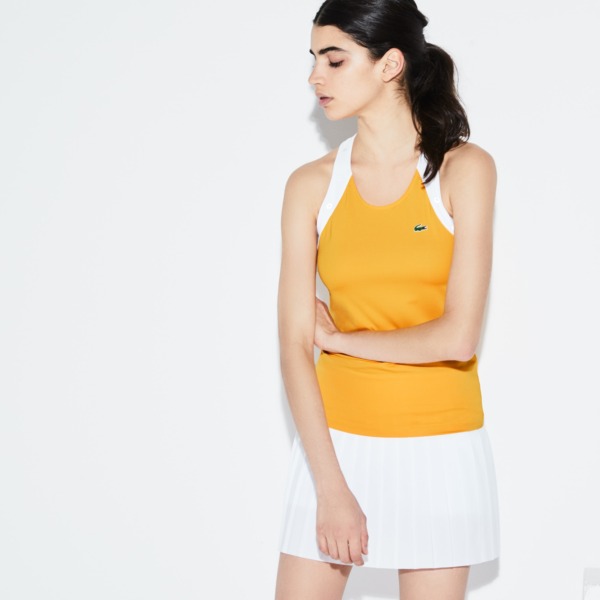 Damen LACOSTE SPORT zweifarbiges Racerback Tennis-Top aus Jersey