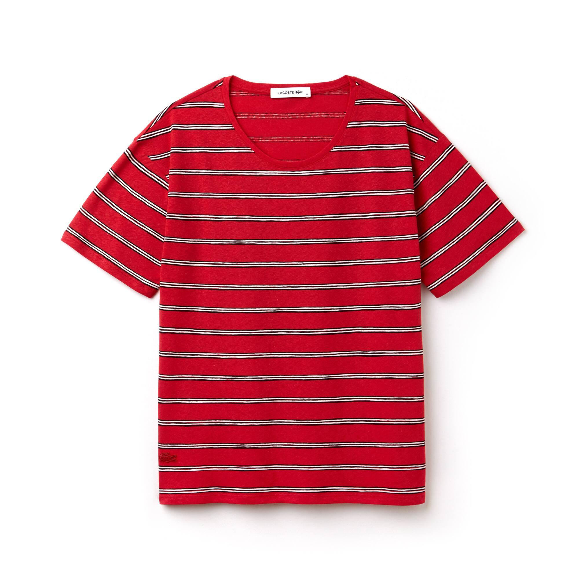 Damen Jersey T-Shirt mit weitem Rundhals und Streifendesign