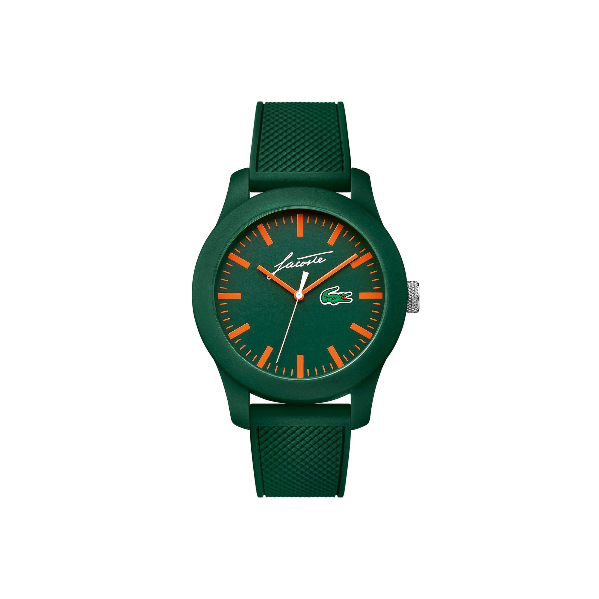 Uhr Lacoste 12.12 mit grünem Silikonarmband und Signatur René Lacoste