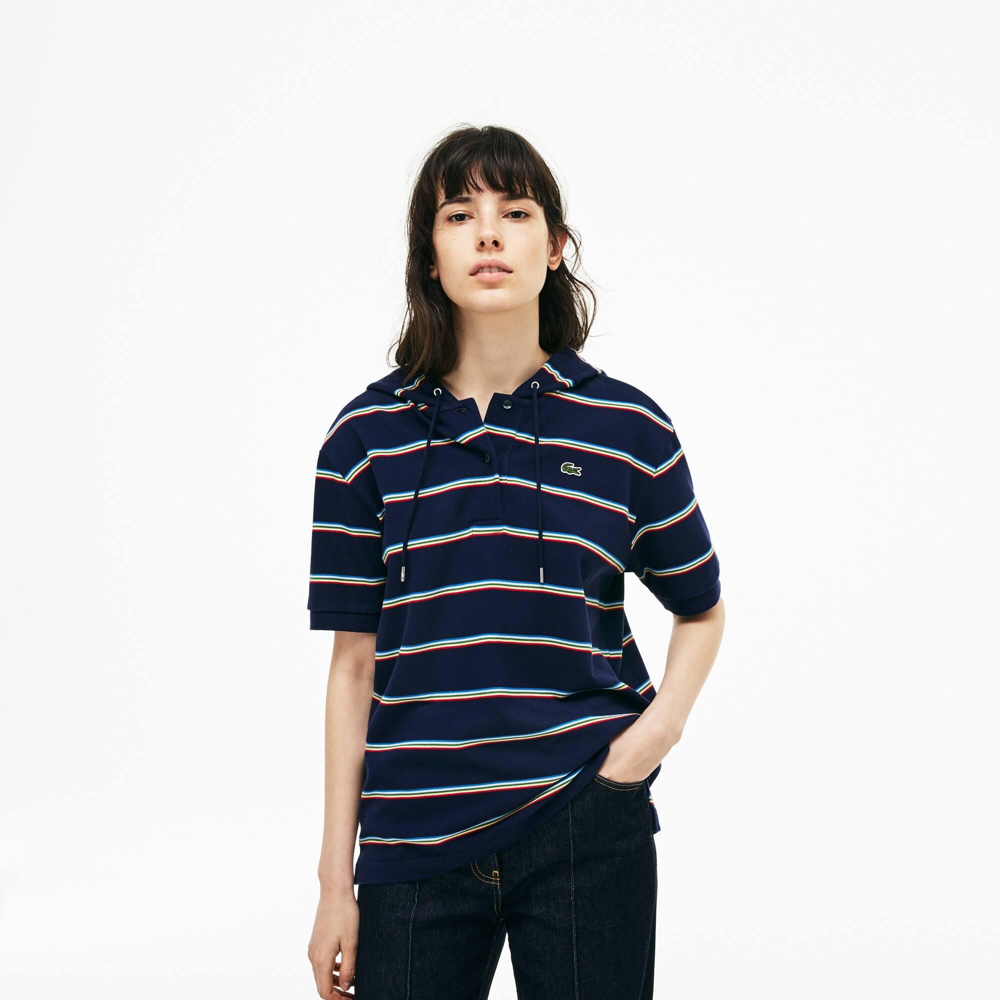 Damen LACOSTE Poloshirt aus Petit Piqué mit Kapuze